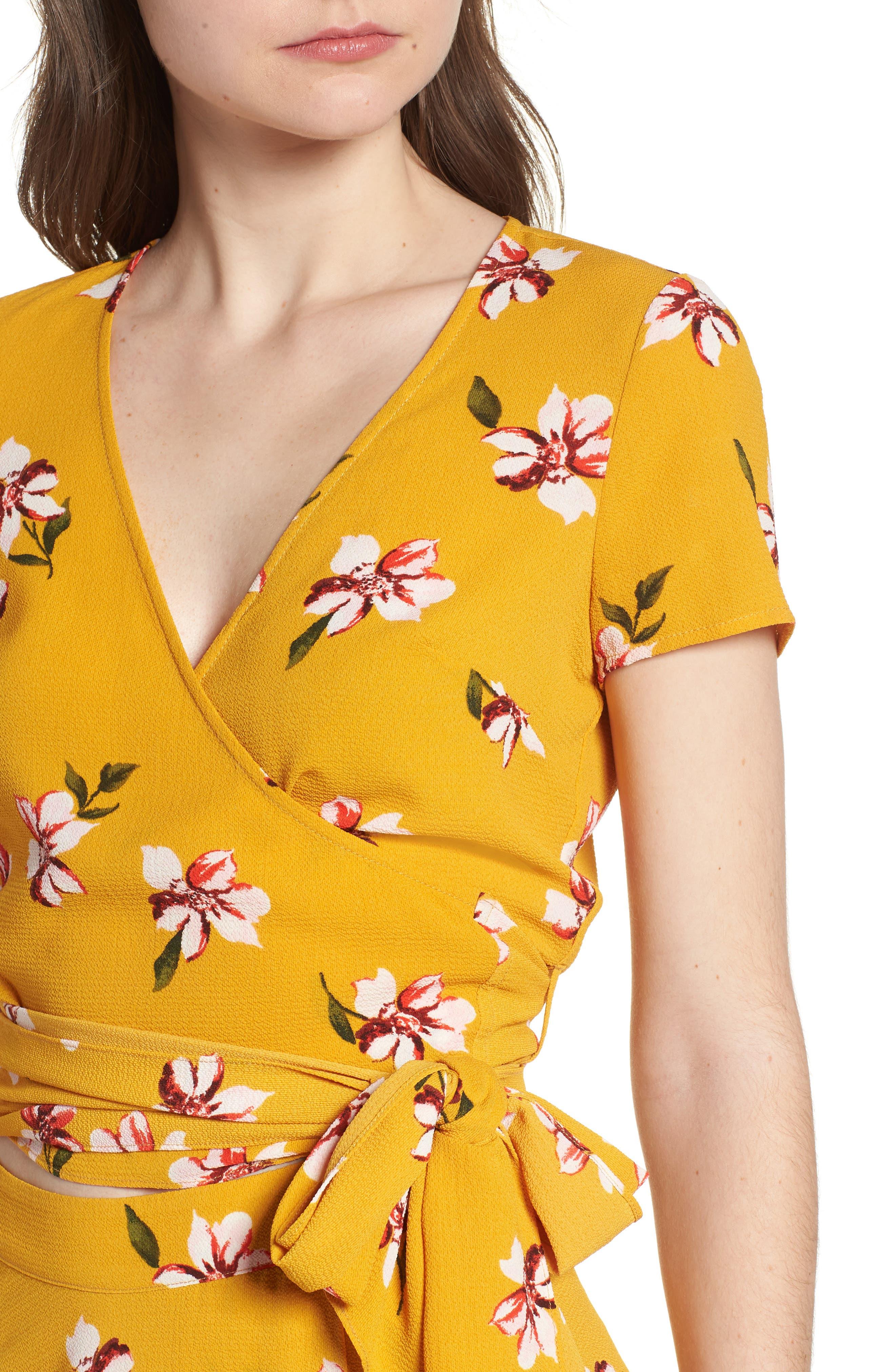 Alternate Image 4  - Soprano Floral Wrap Crop Top