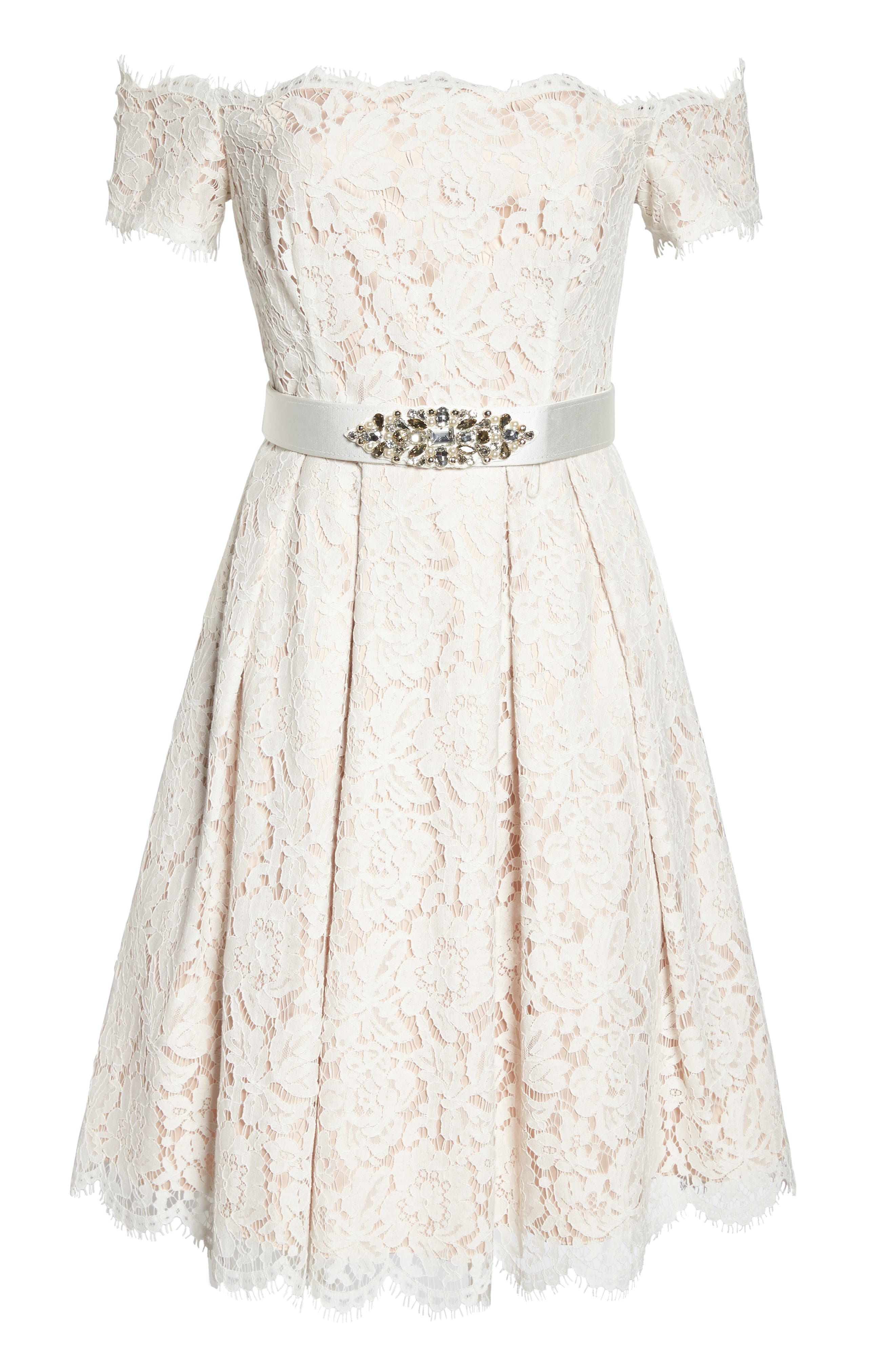 Embellished Lace Fit & Flare Dress,                             Alternate thumbnail 6, color,                             Ivory