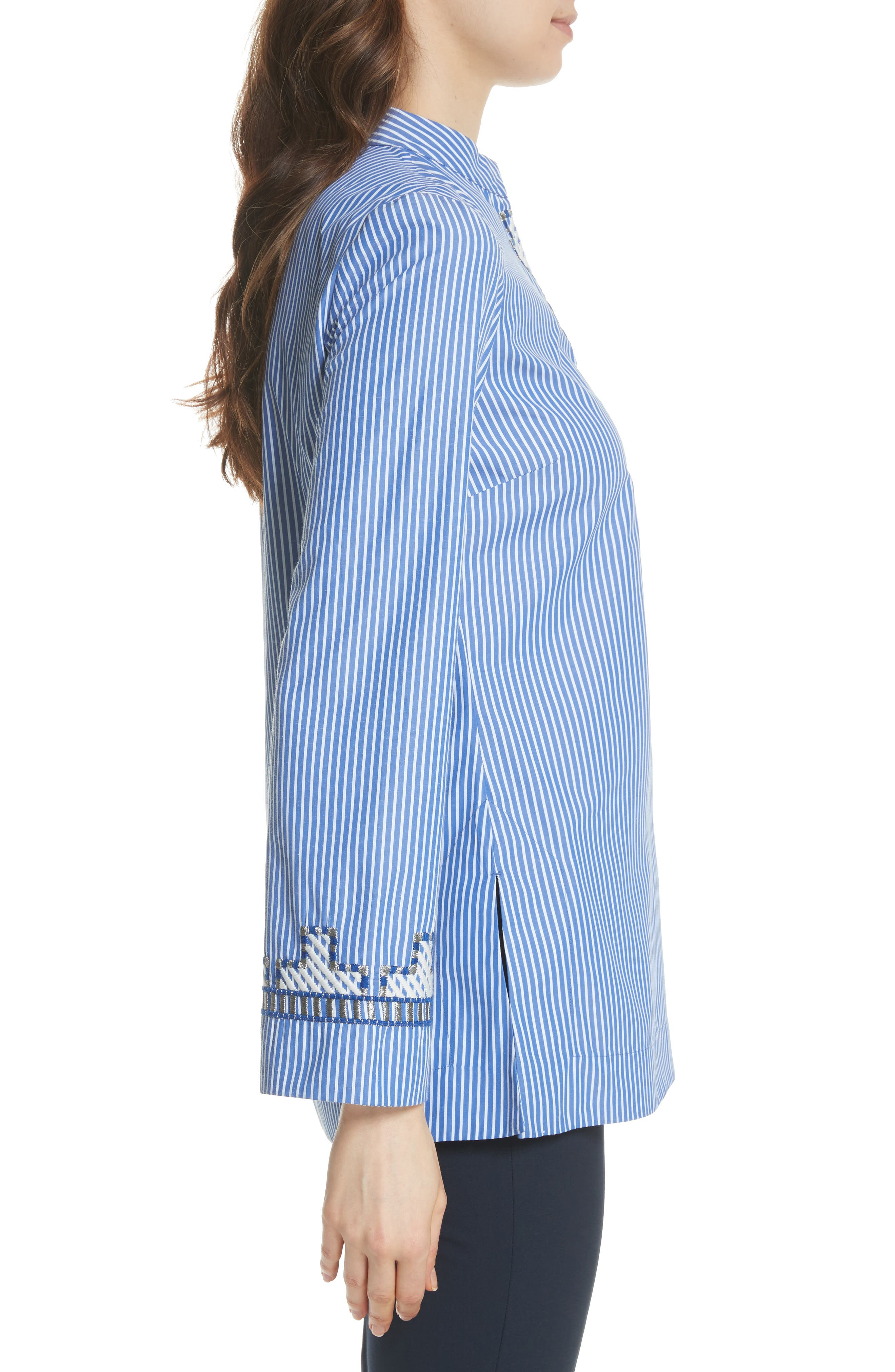 Tory Embroidered Stripe Tunic,                             Alternate thumbnail 3, color,                             Blue/ White