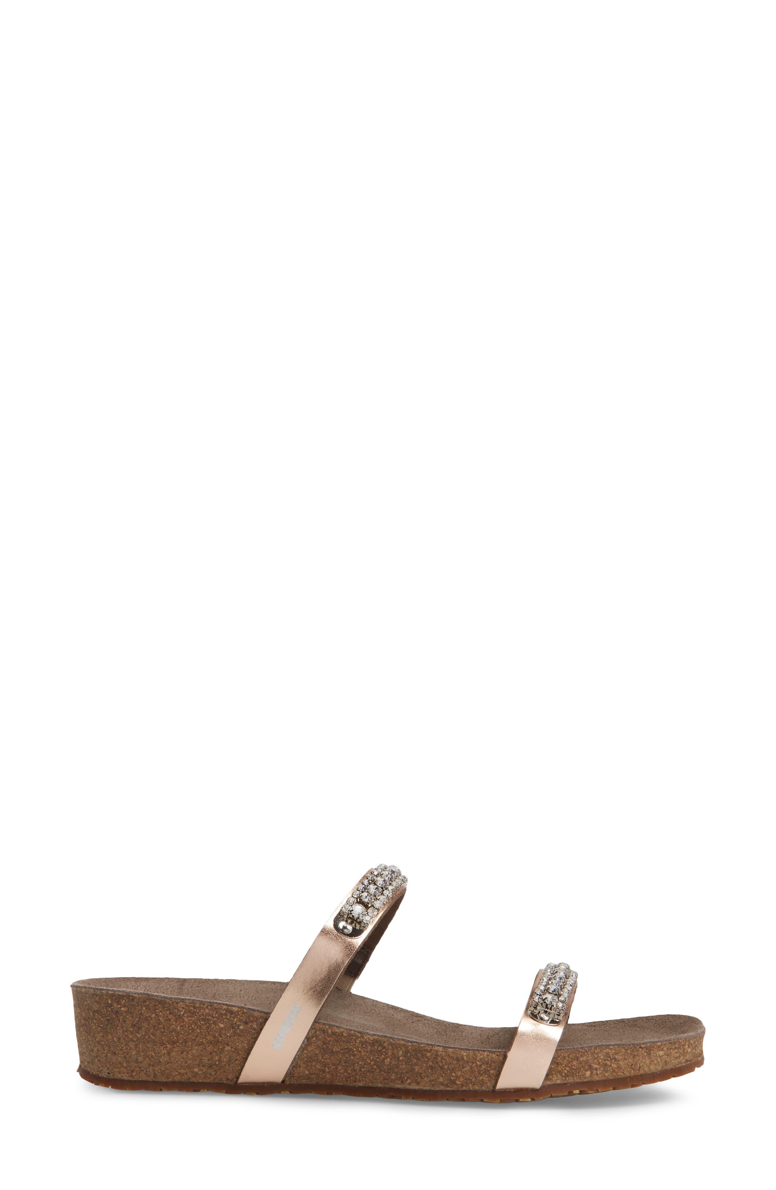 'Ivana' Crystal Embellished Slide Sandal,                             Alternate thumbnail 3, color,                             Old Pink Leather
