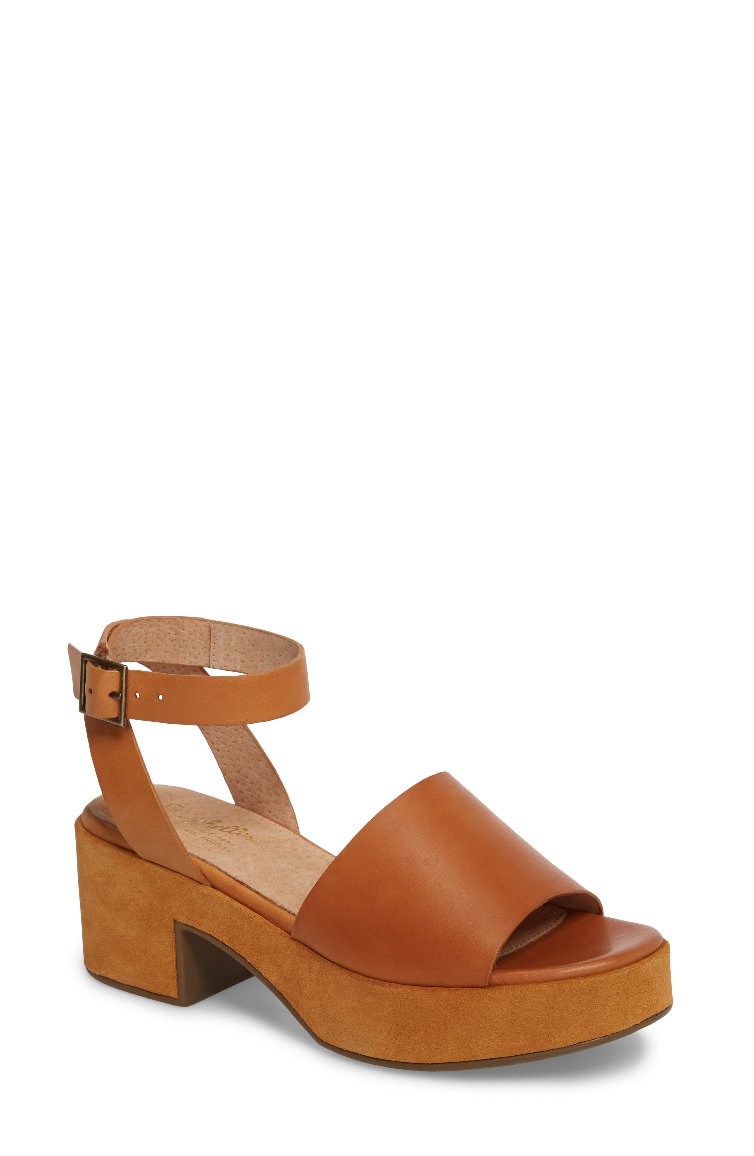 Calming Influence Platform Sandal,                             Main thumbnail 1, color,                             Tan Leather