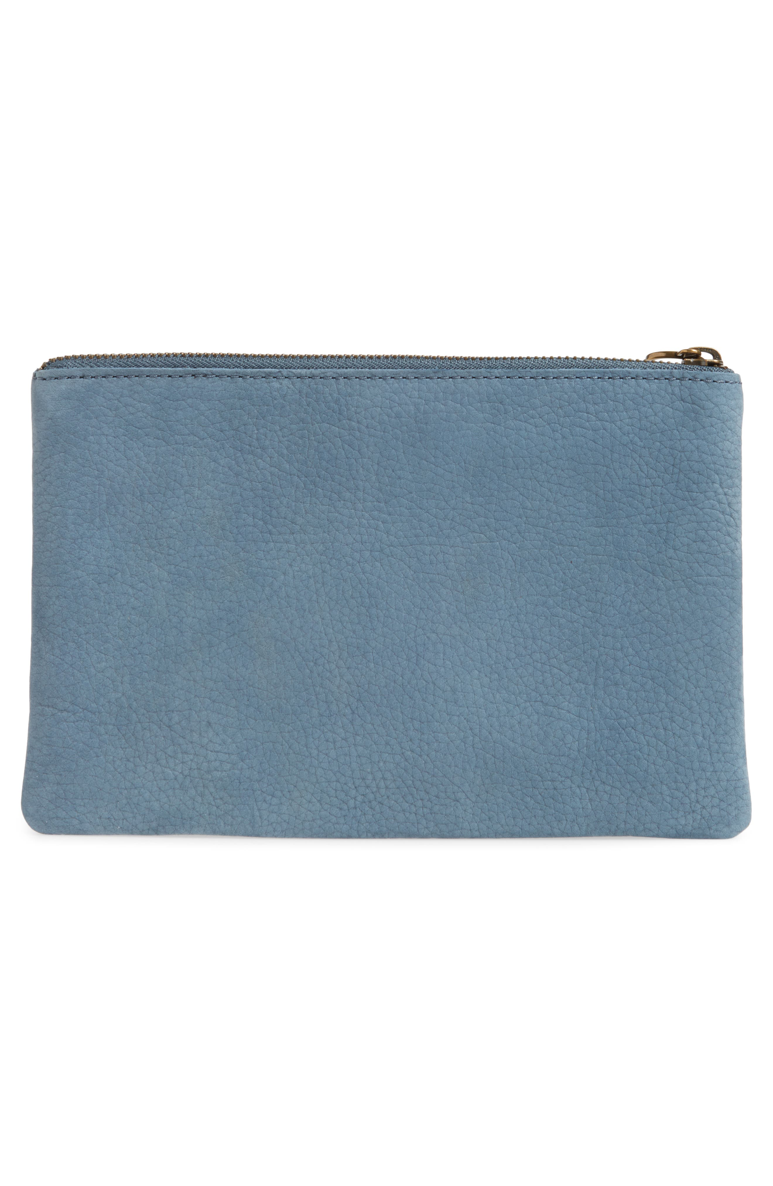The Leather Pouch Clutch,                             Alternate thumbnail 3, color,                             Deep River