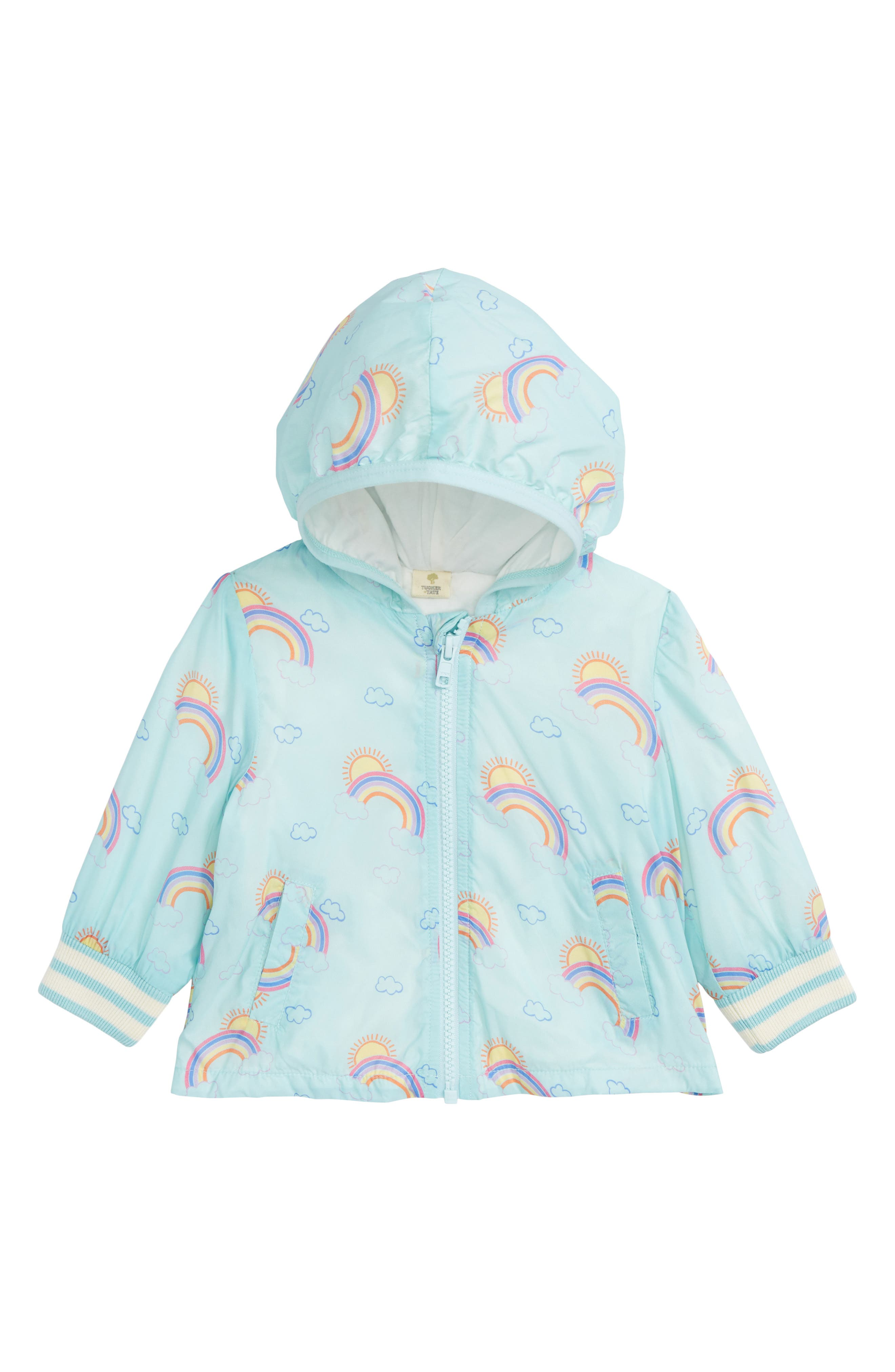 Rainbow Hooded Nylon Windbreaker,                             Main thumbnail 1, color,                             Blue Glow Rainbows