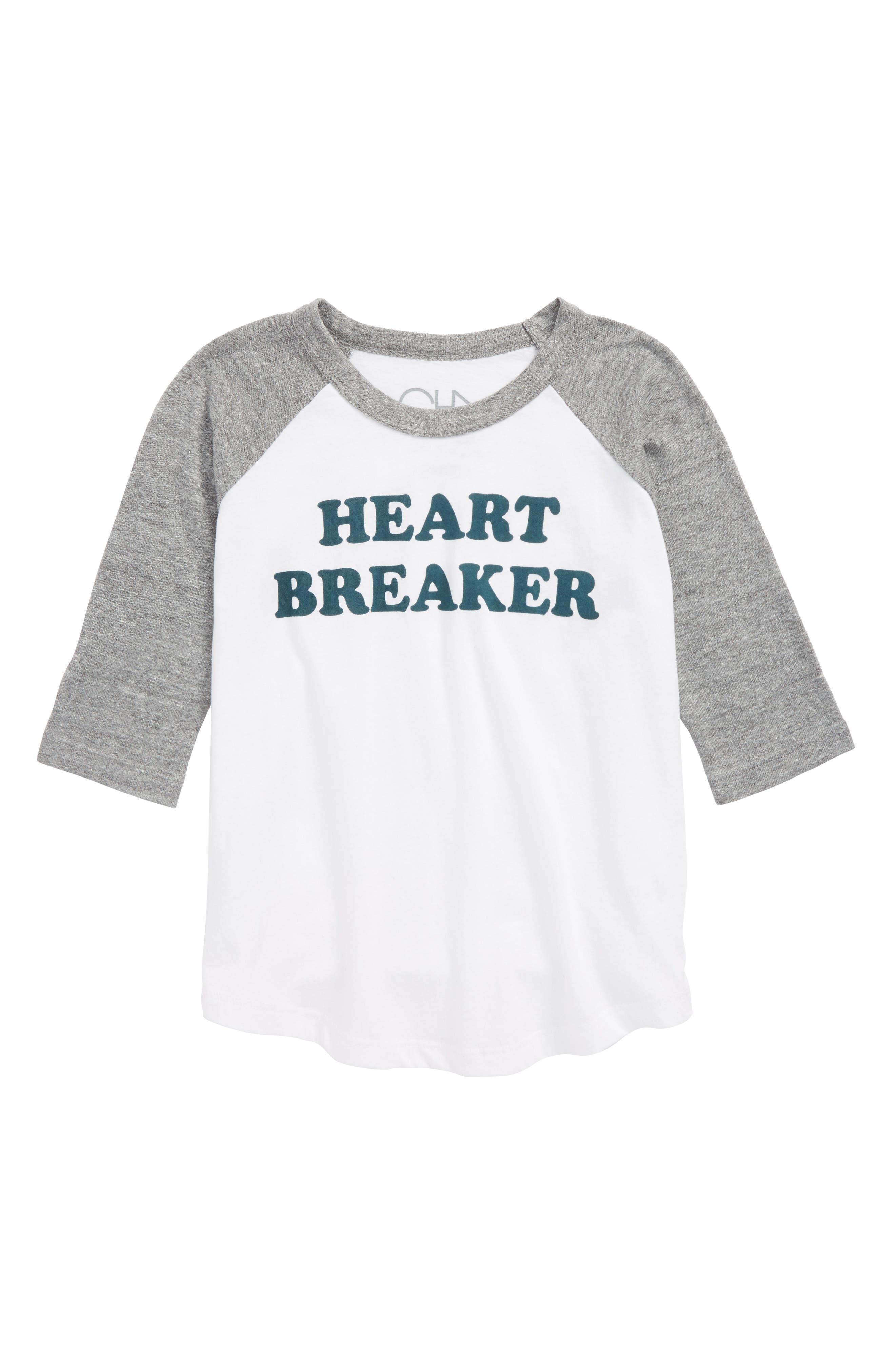 Heart Breaker Raglan T-Shirt,                             Main thumbnail 1, color,                             White/ Streaky Gray