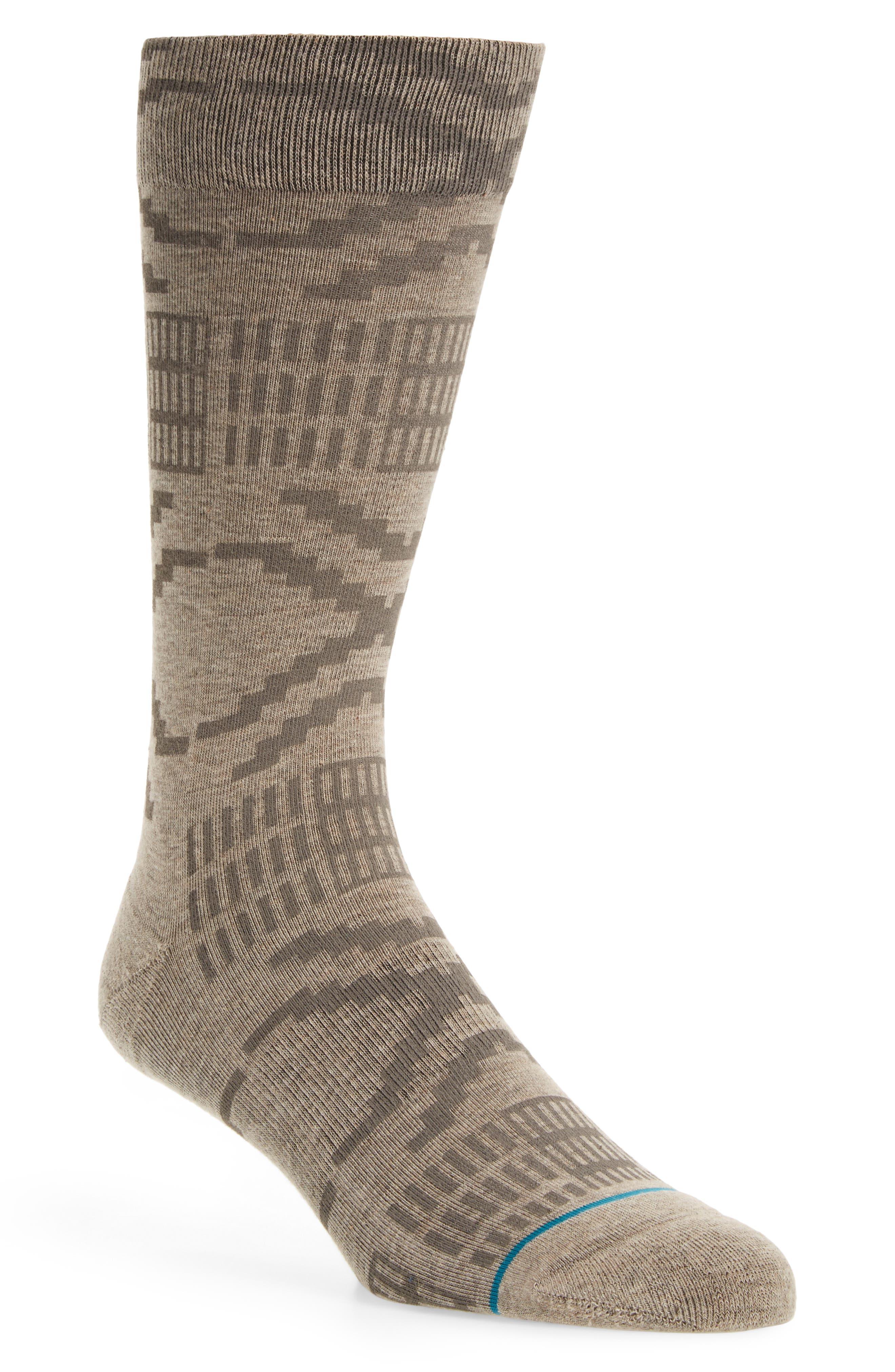 Geometric Socks,                             Main thumbnail 1, color,                             Dark Roast