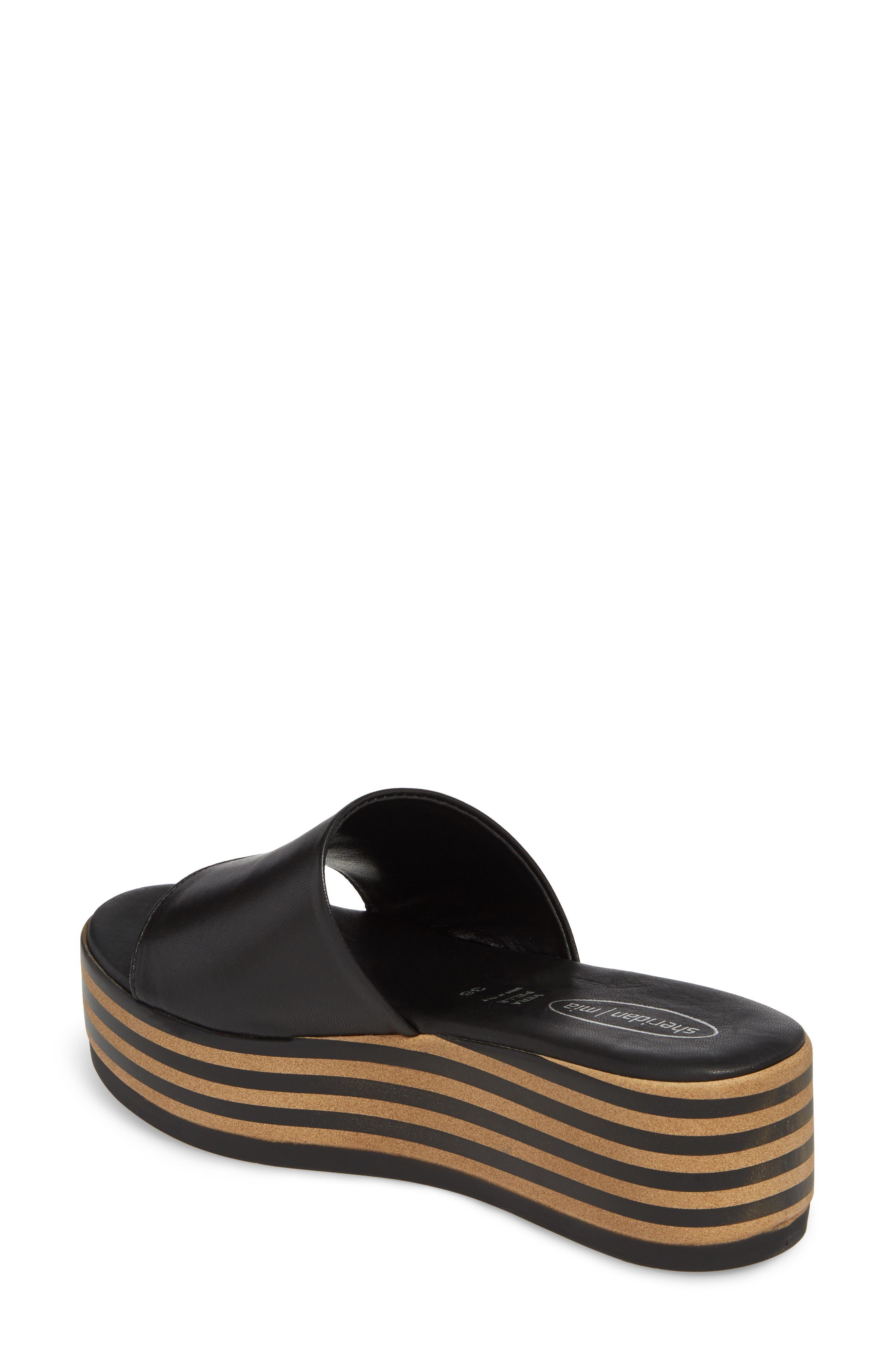 Reesa Platform Slide Sandal,                             Alternate thumbnail 2, color,                             Black Leather
