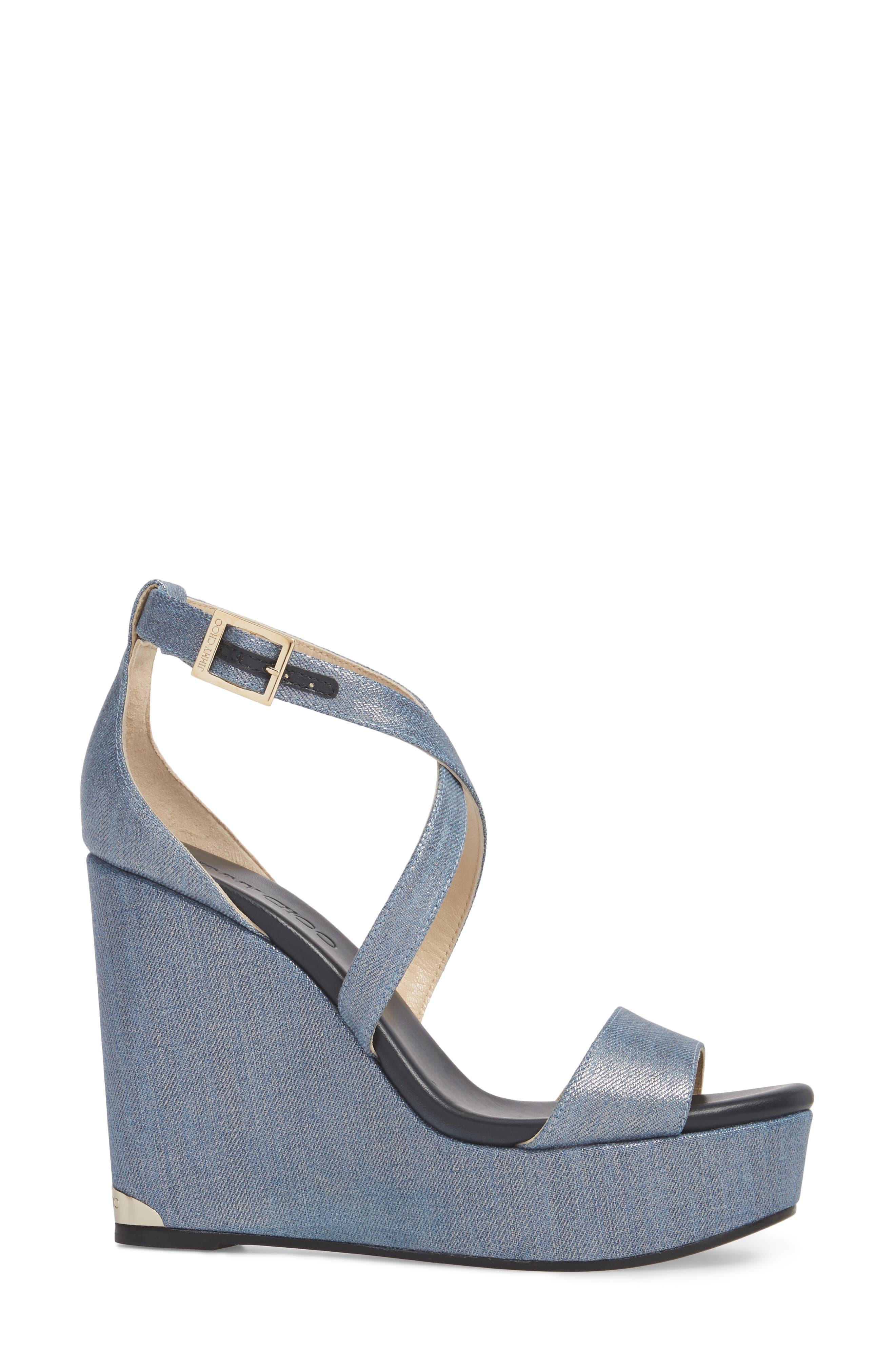 Portia Platform Wedge Sandal,                             Alternate thumbnail 3, color,                             Dusk Blue