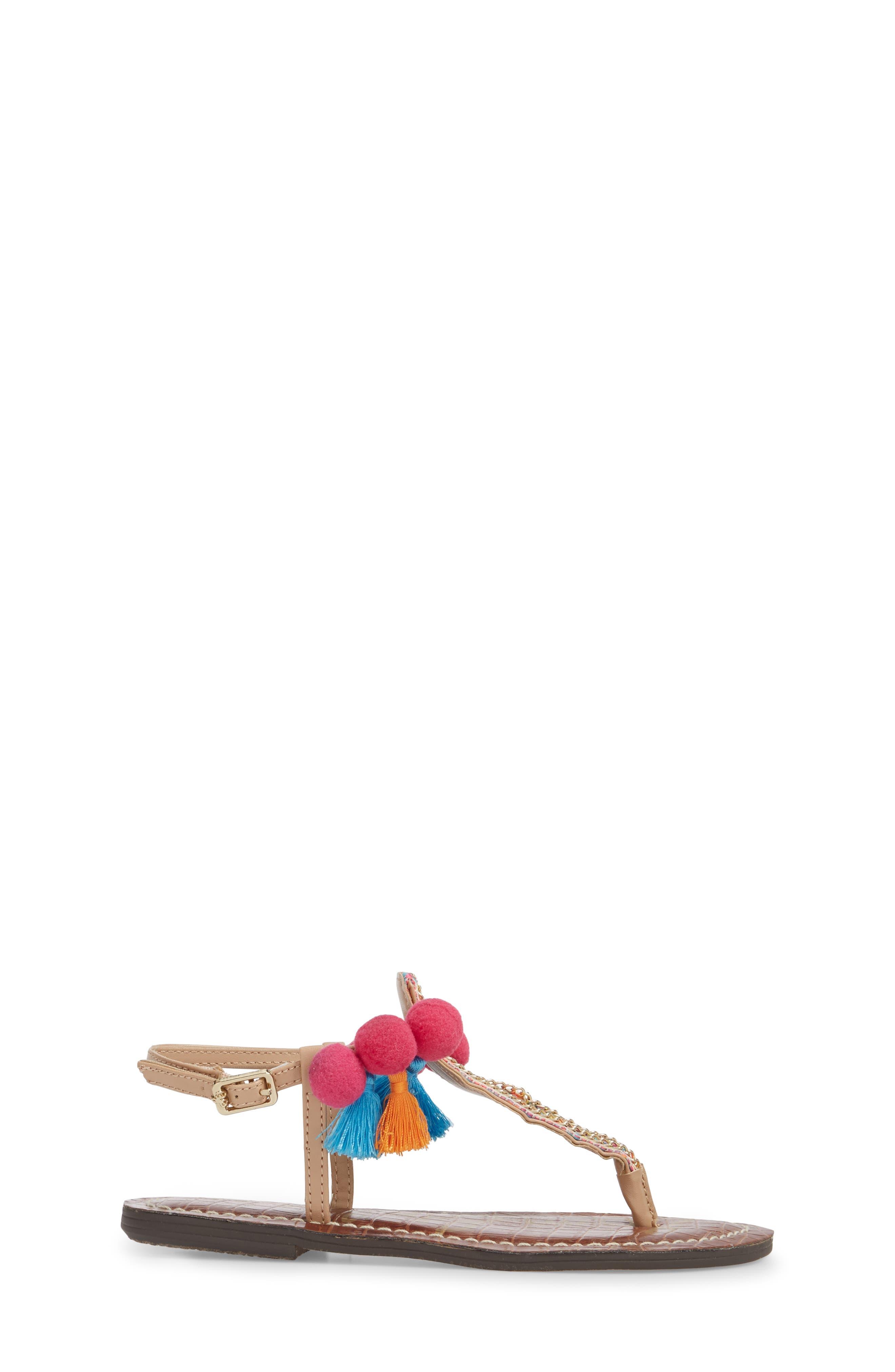 Gigi Embellished Thong Sandal,                             Alternate thumbnail 3, color,                             Natural Faux Leather