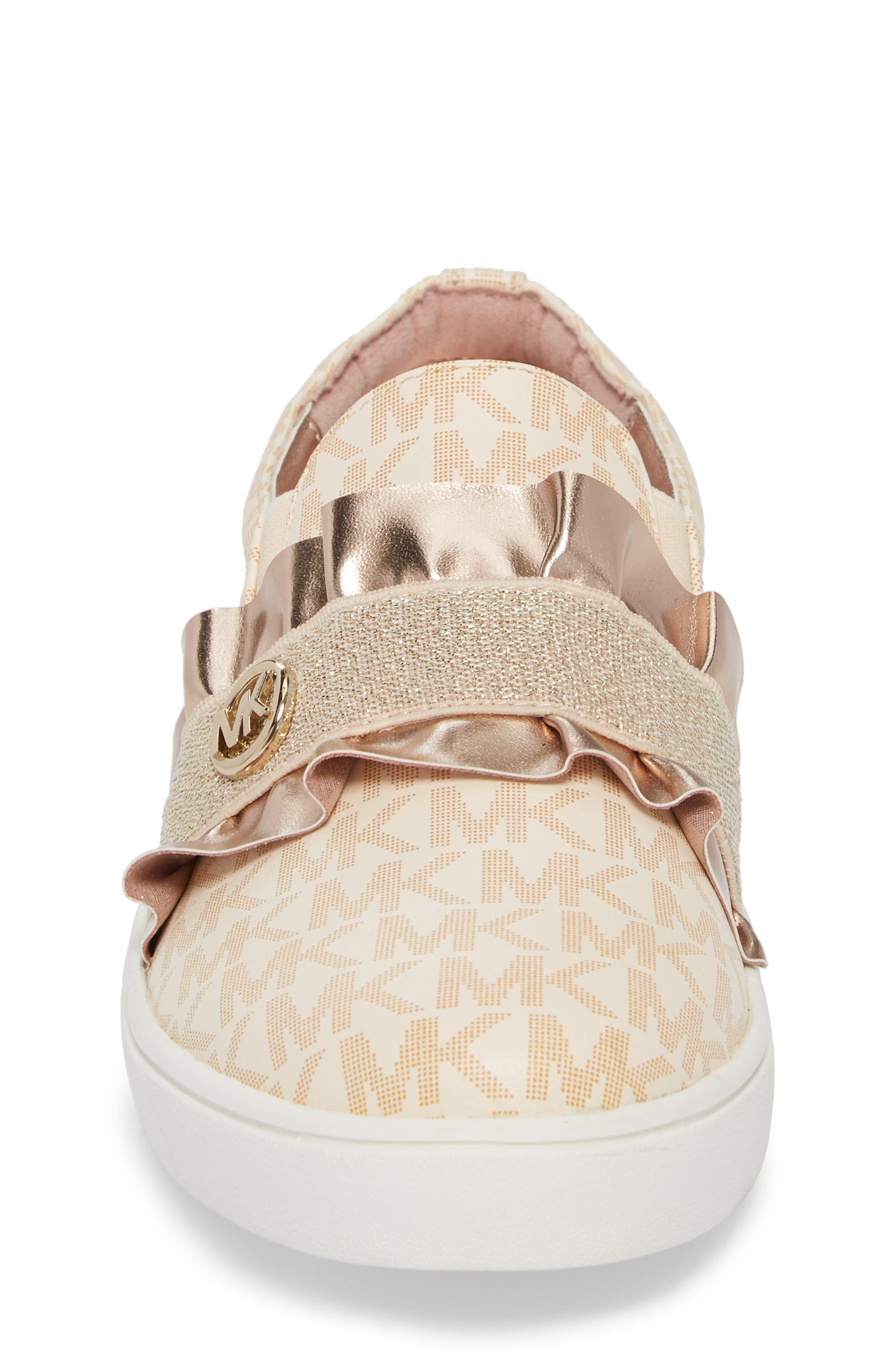 Ivy Riff Ruffle Sneaker,                             Alternate thumbnail 4, color,                             Rose Gold
