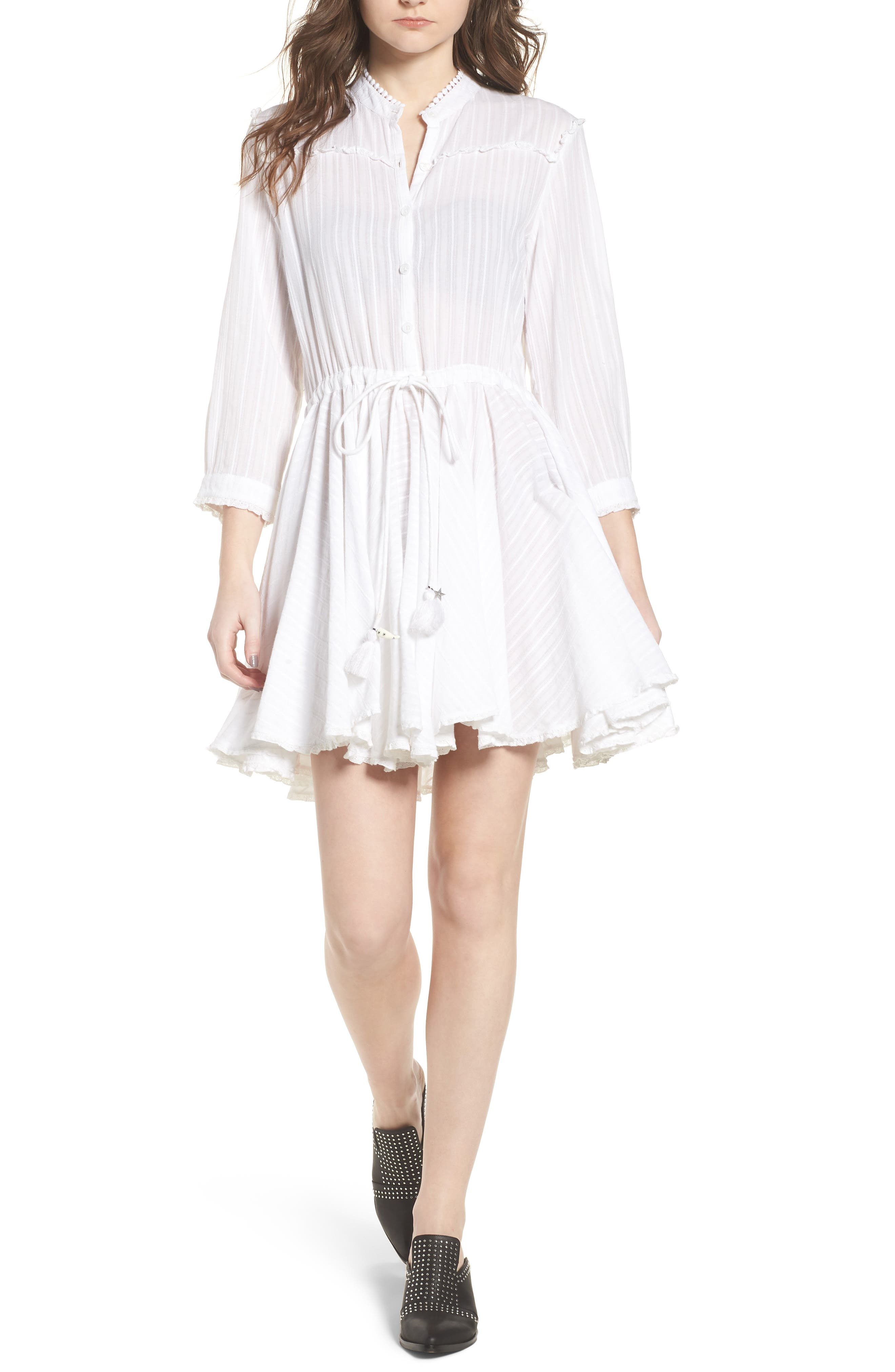 Ranil Textured Fit & Flare Dress,                         Main,                         color, White