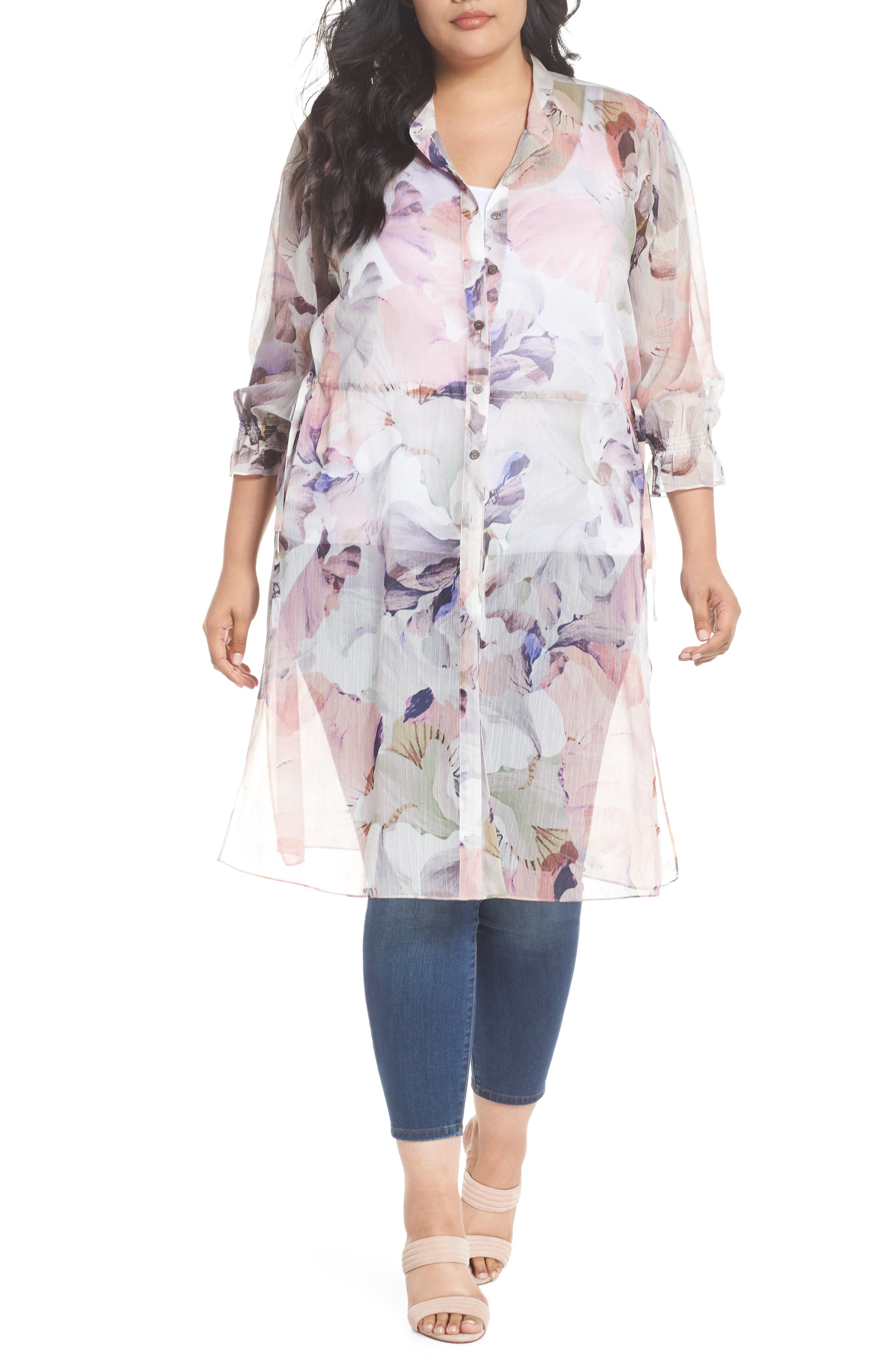 Diffused Bloom Tunic Dress,                         Main,                         color, New Ivory