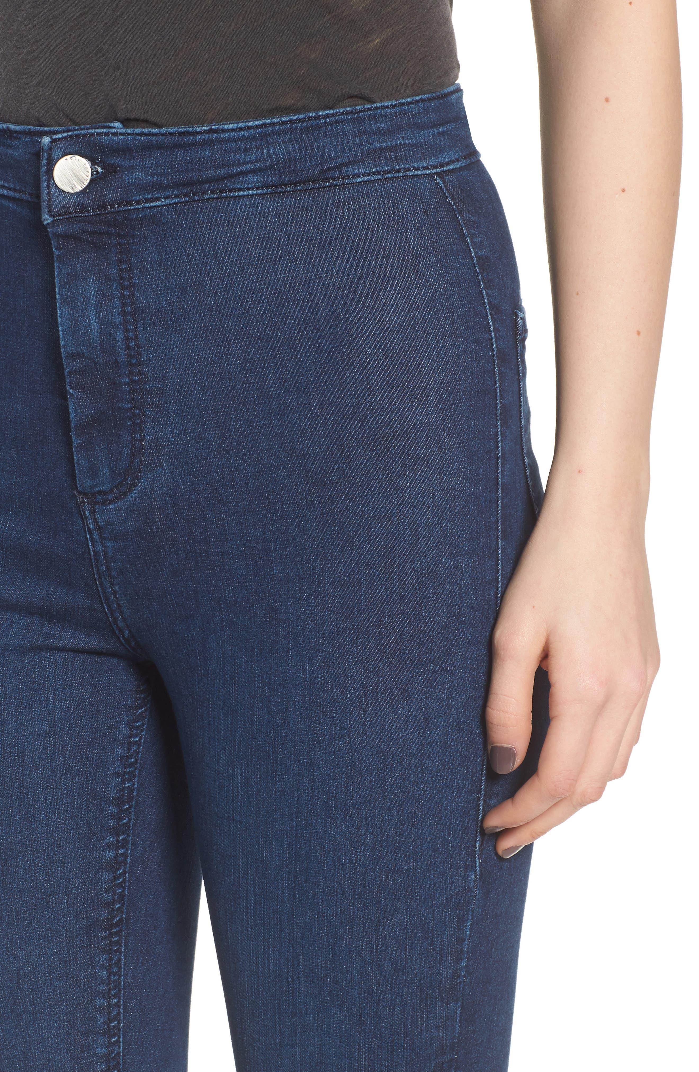 Moto 'Joni' Super Skinny Jeans,                             Alternate thumbnail 4, color,                             Navy Blue