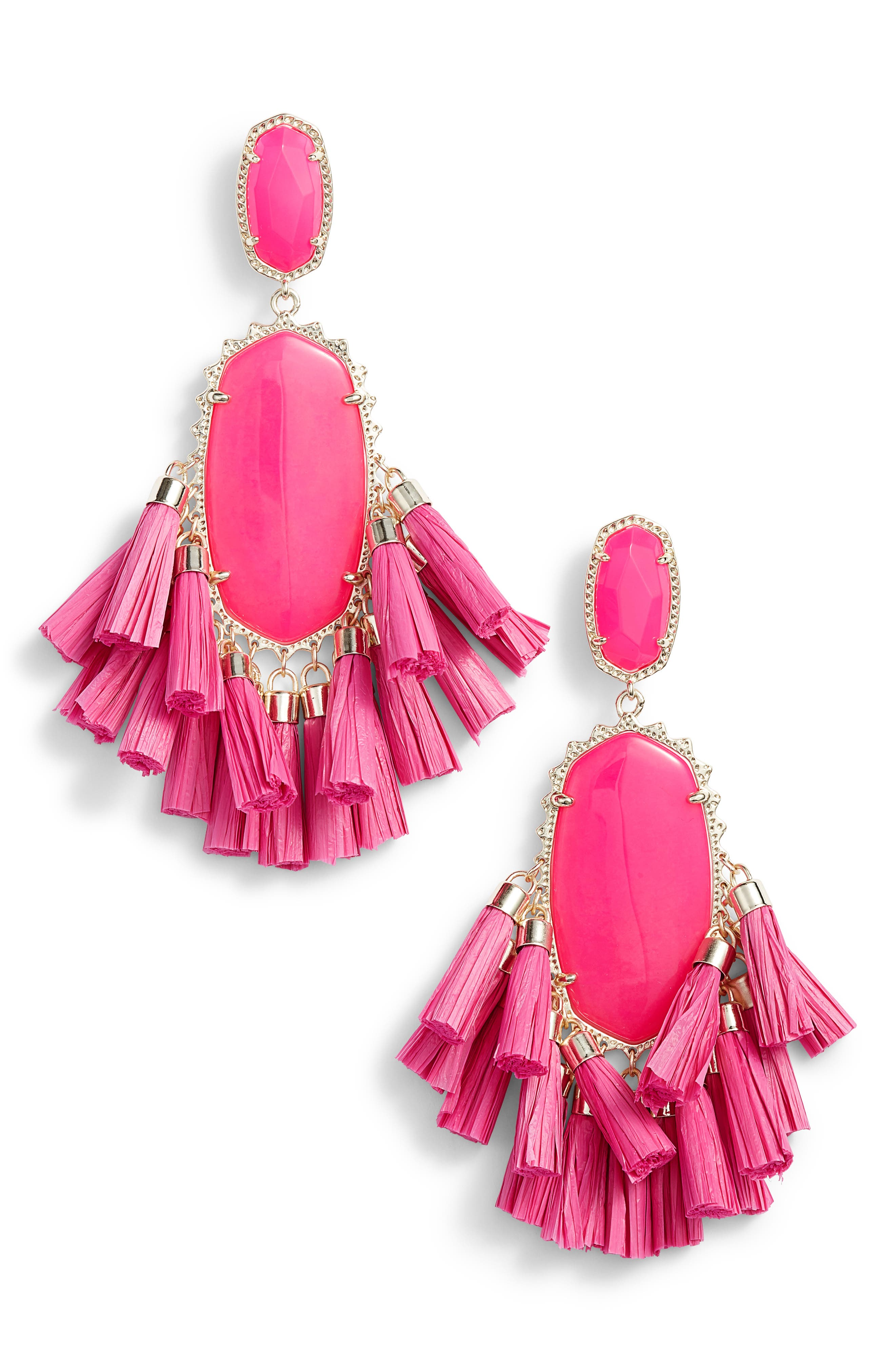 Cristina Stone Tassel Earrings,                             Main thumbnail 1, color,                             Pink Unbanded Agate/ Gold