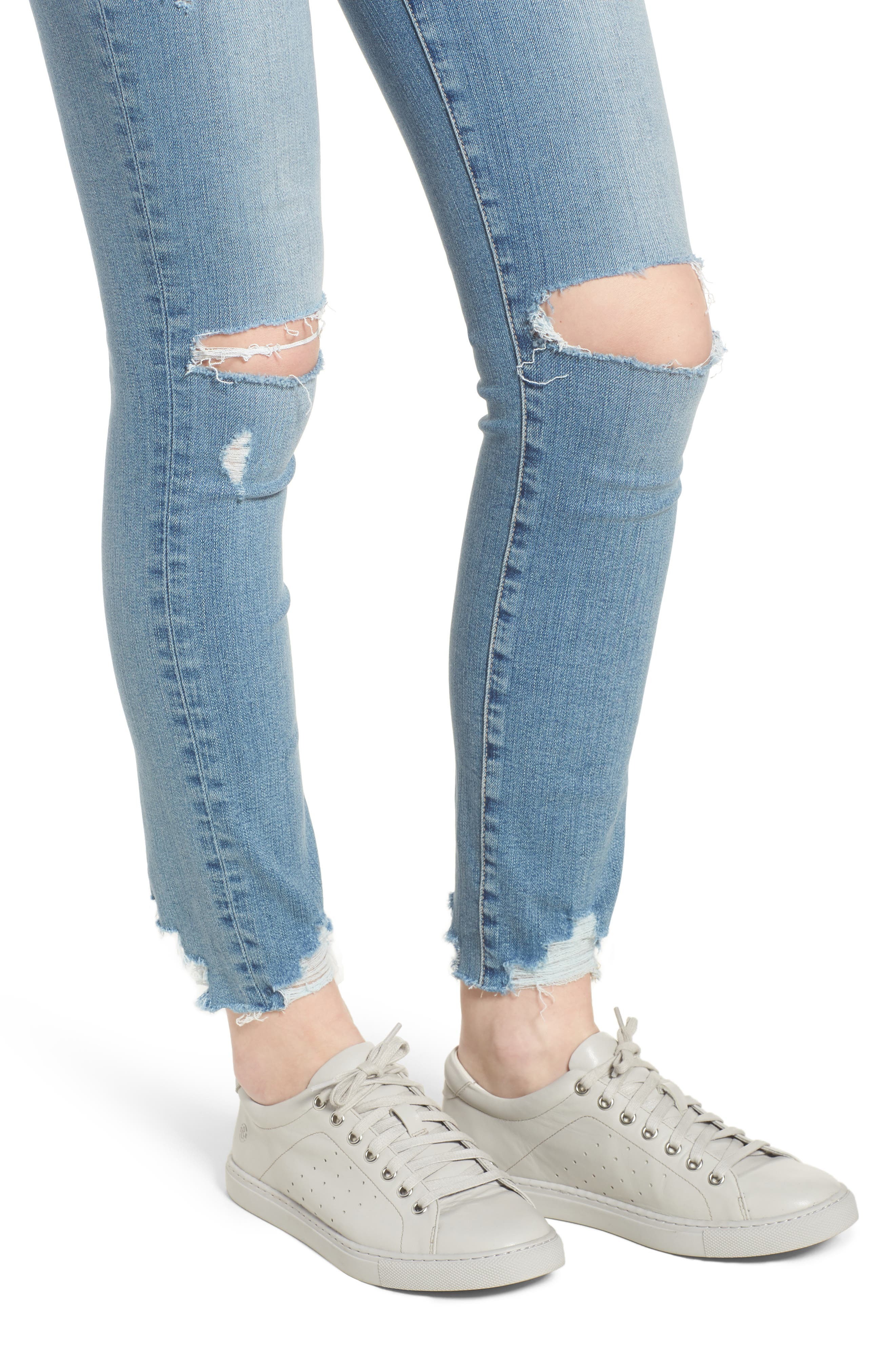 Hoxton High Waist Ankle Skinny Jeans,                             Alternate thumbnail 4, color,                             Janis Destructed