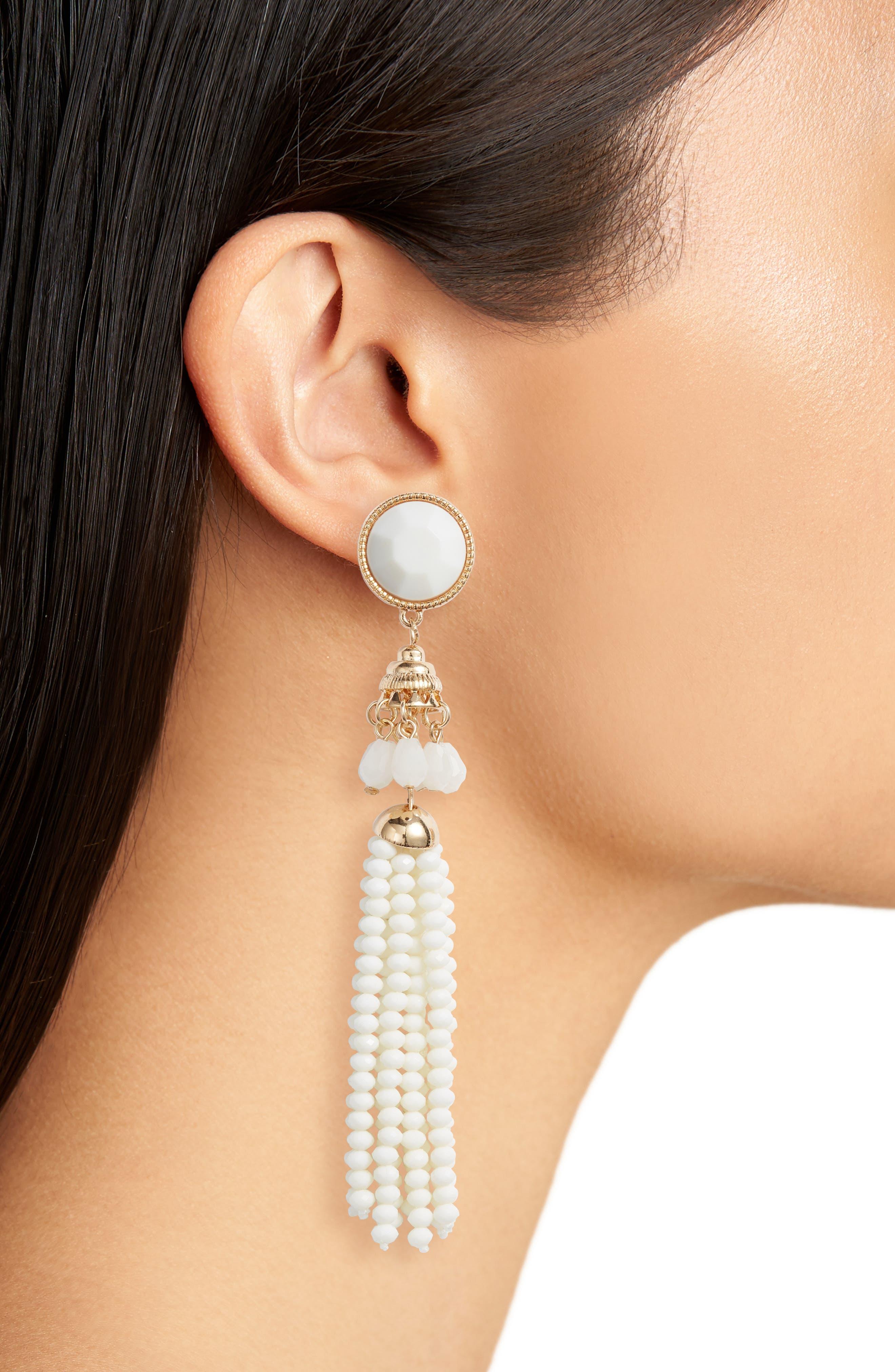 Beaded Tassel Earrings,                             Alternate thumbnail 2, color,                             Gold/ Cream