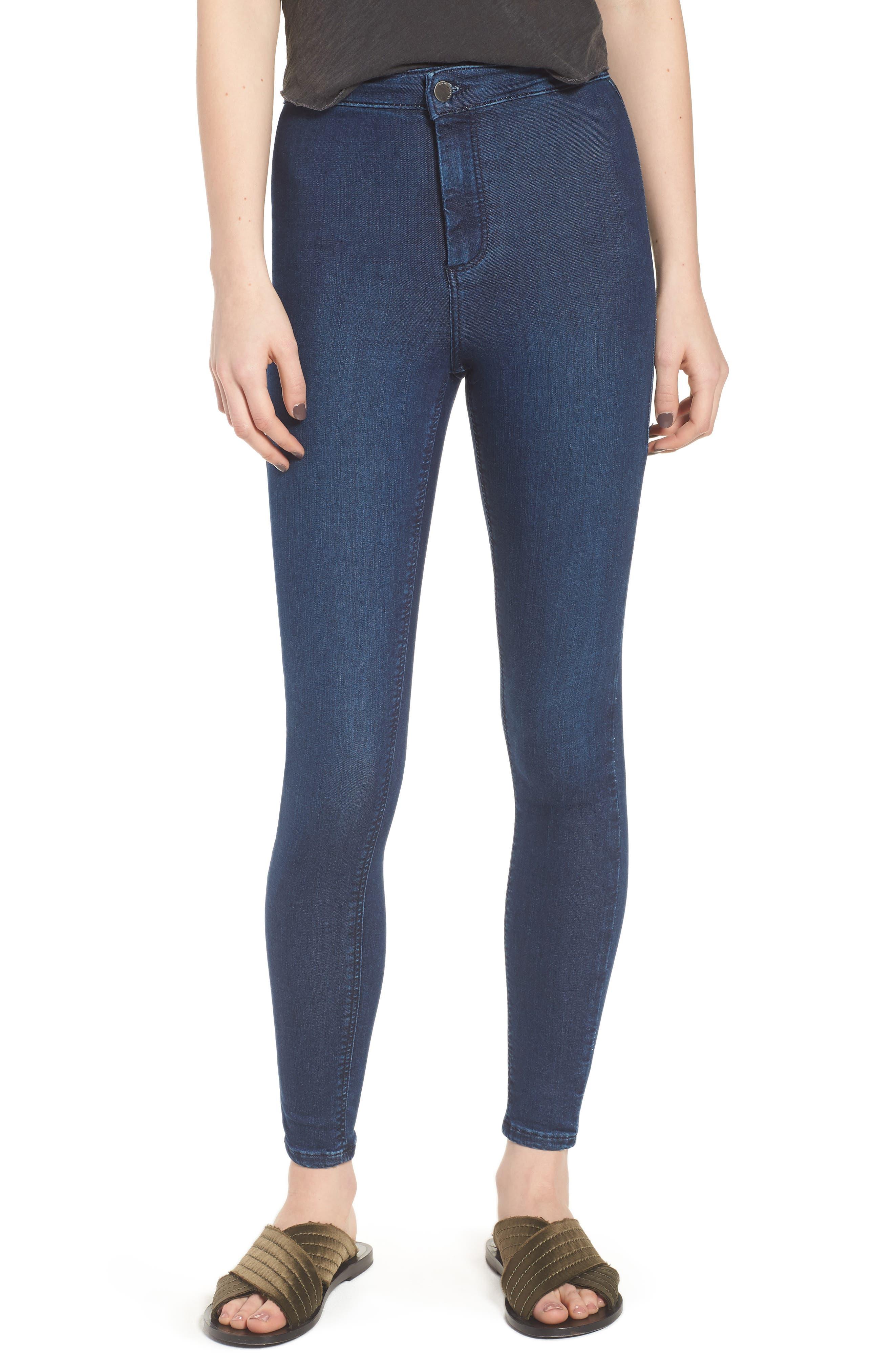 Moto 'Joni' Super Skinny Jeans,                             Main thumbnail 1, color,                             Navy Blue