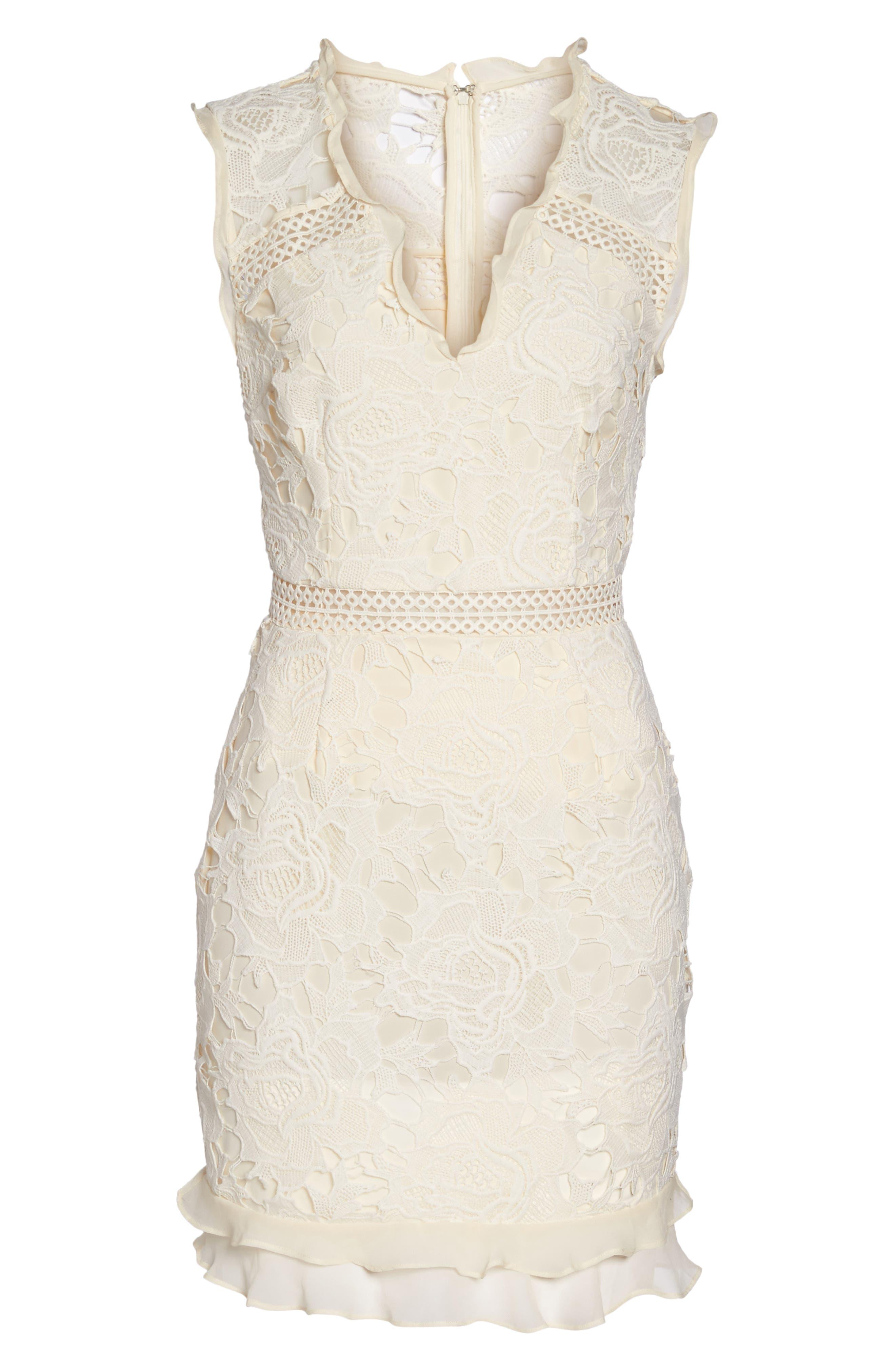 Lustrous Lace Sheath Dress,                             Alternate thumbnail 7, color,                             Coconut Milk