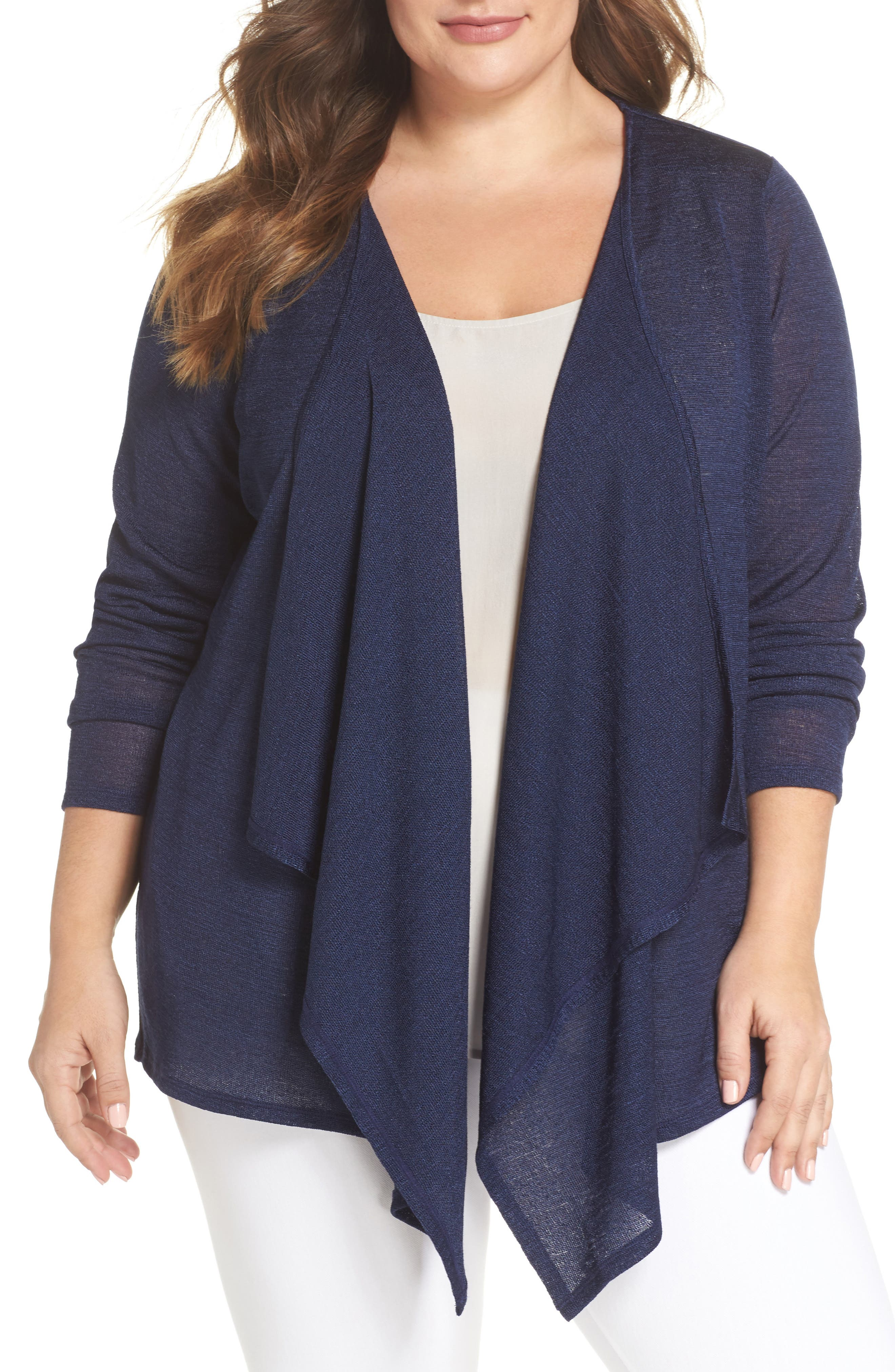 Draped Front Cardigan,                         Main,                         color, True Navy