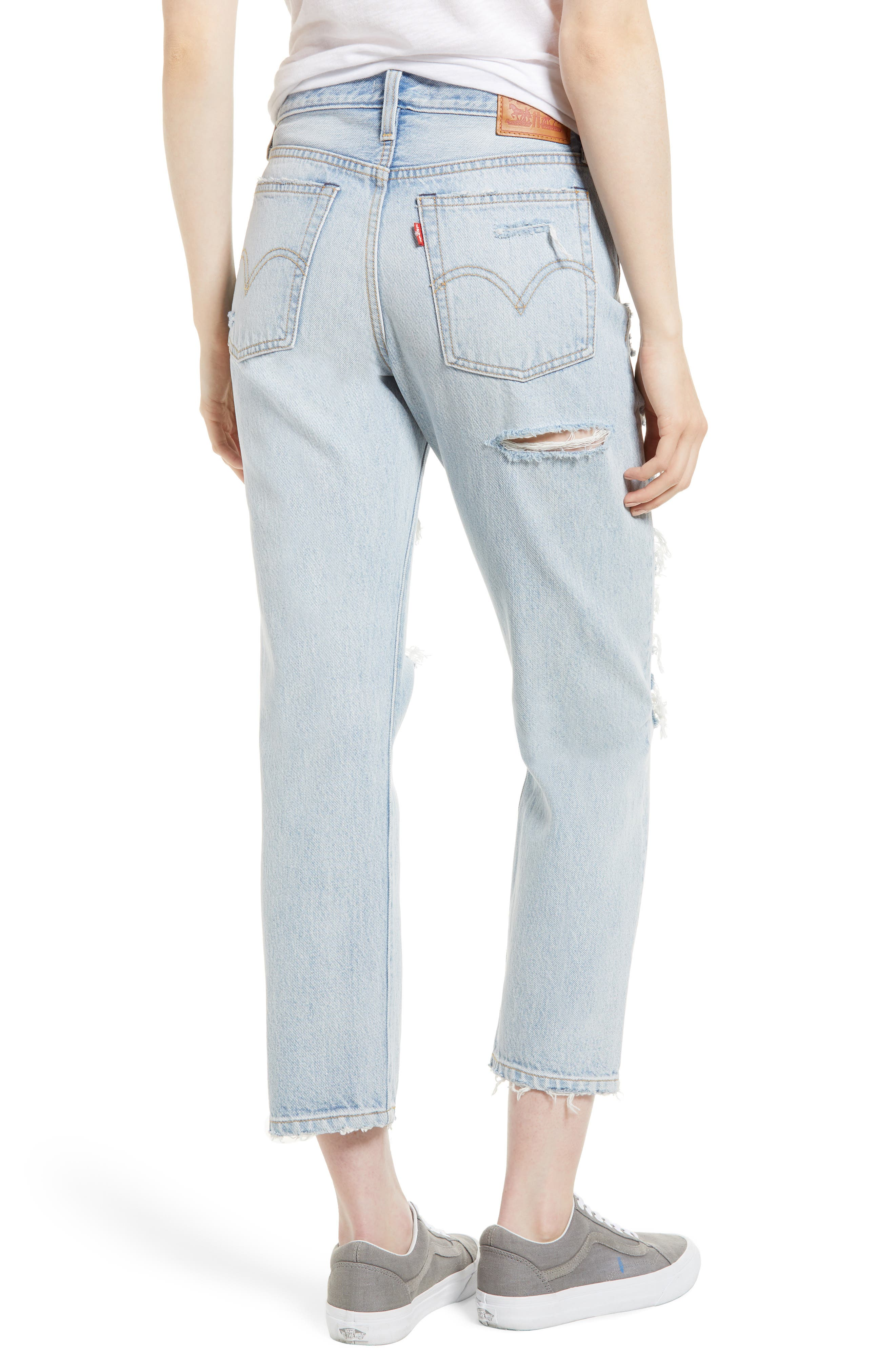 Wedgie High Waist Ripped Straight Jeans,                             Alternate thumbnail 2, color,                             Light Blue 1