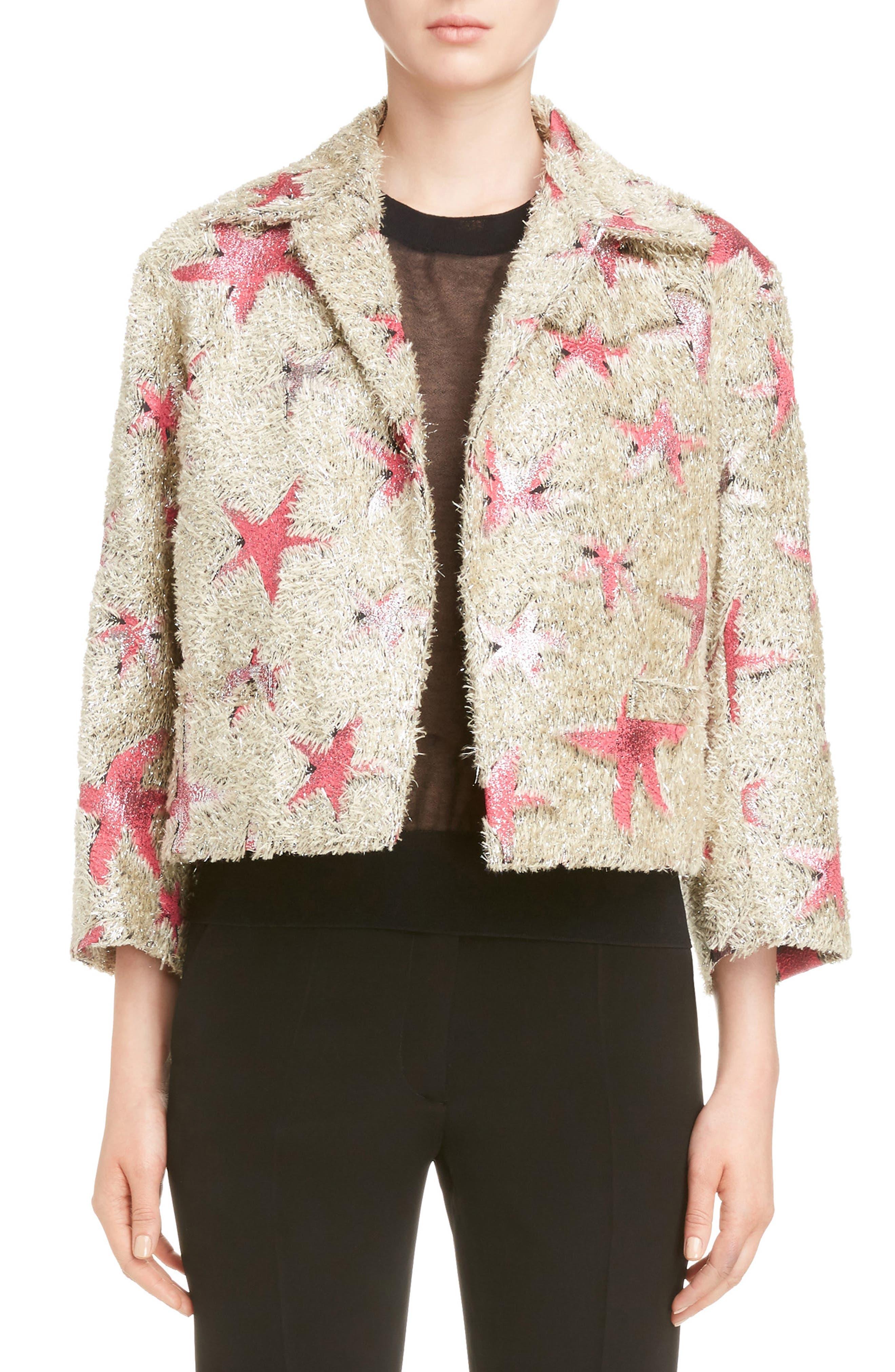 Starfish Shaggy Crop Jacket,                         Main,                         color, Sand