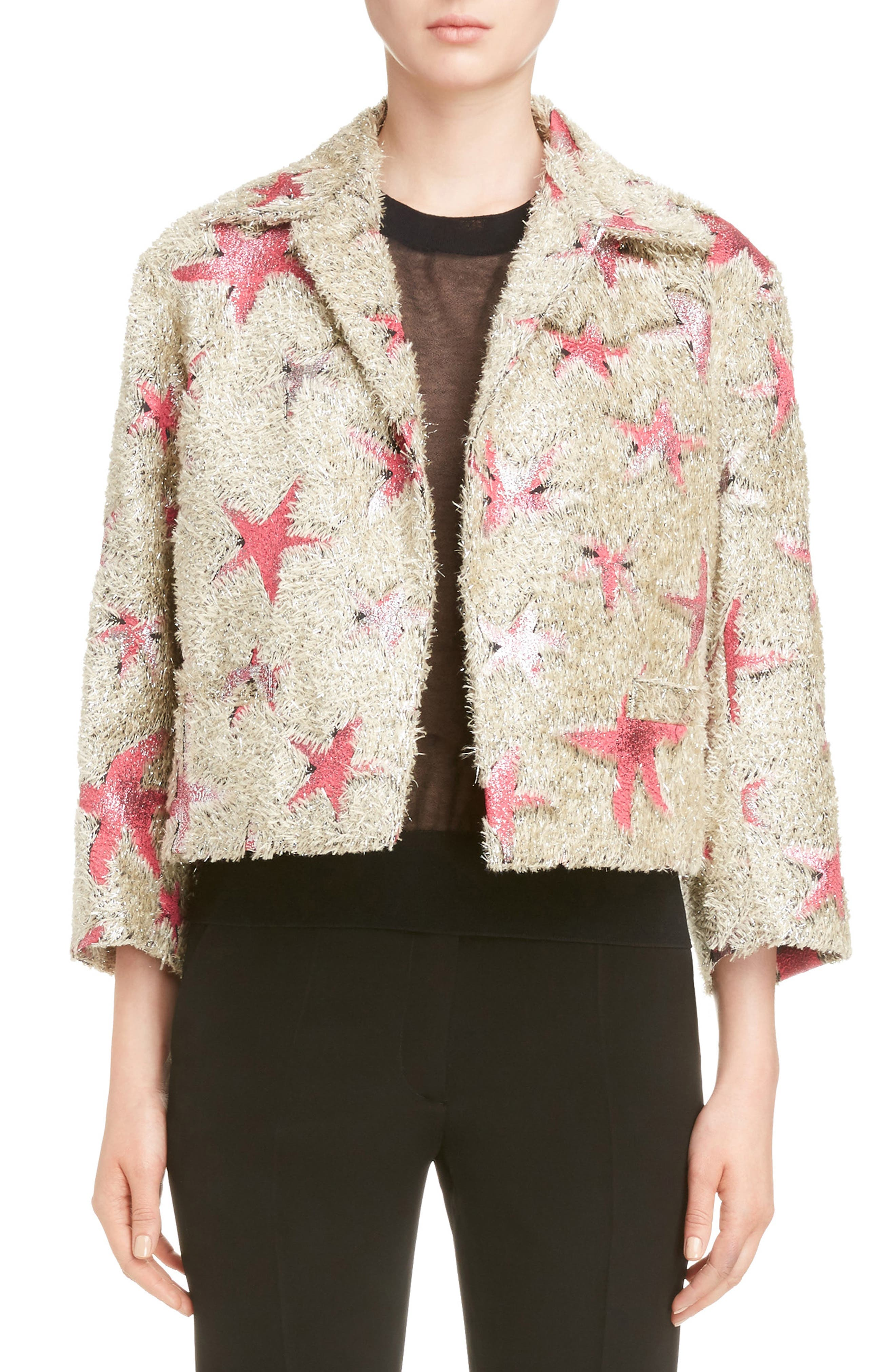 Dries Van Noten Starfish Shaggy Crop Jacket