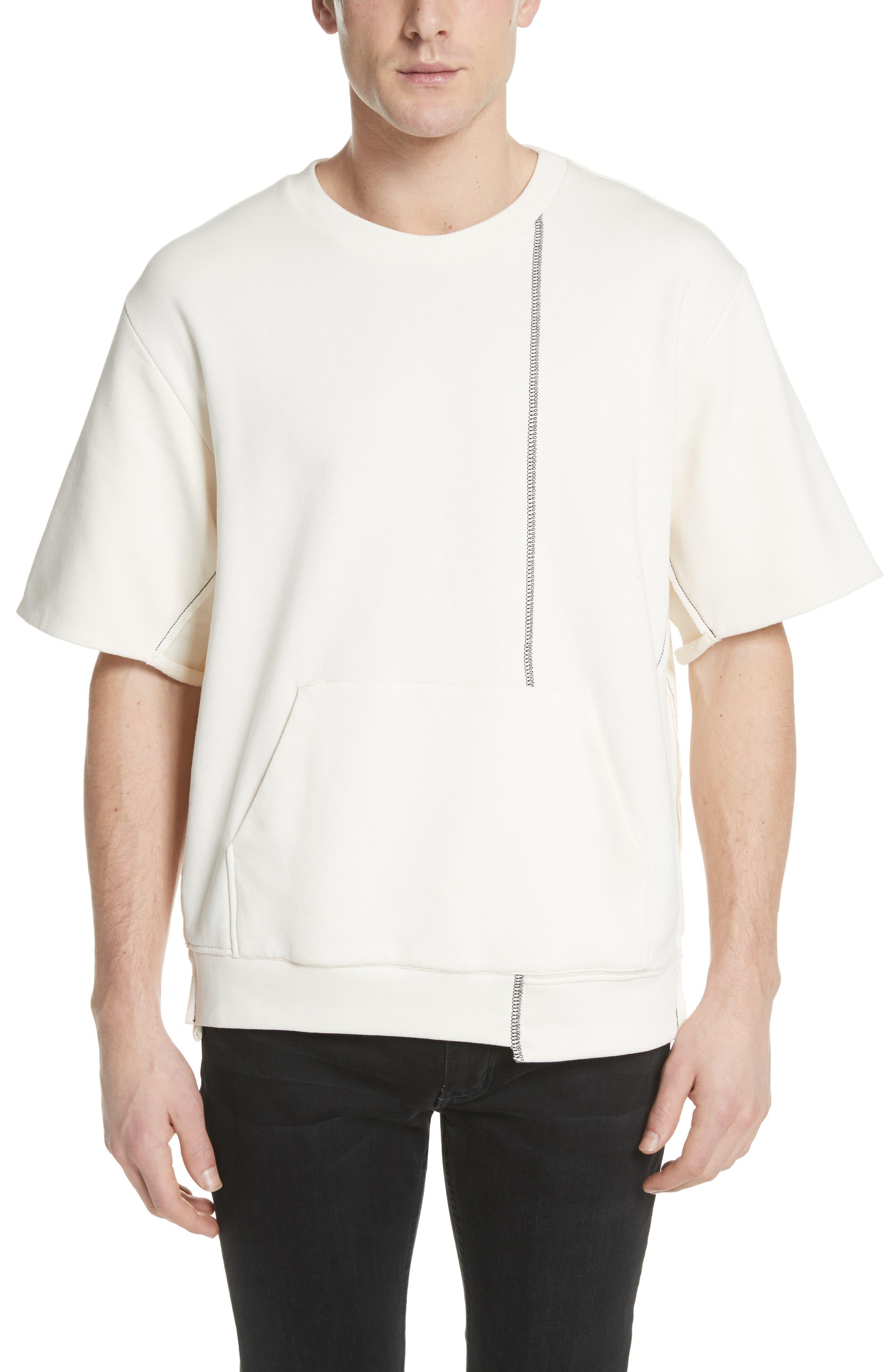 Reconstructed Short Sleeve Sweatshirt,                             Main thumbnail 1, color,                             Ecru