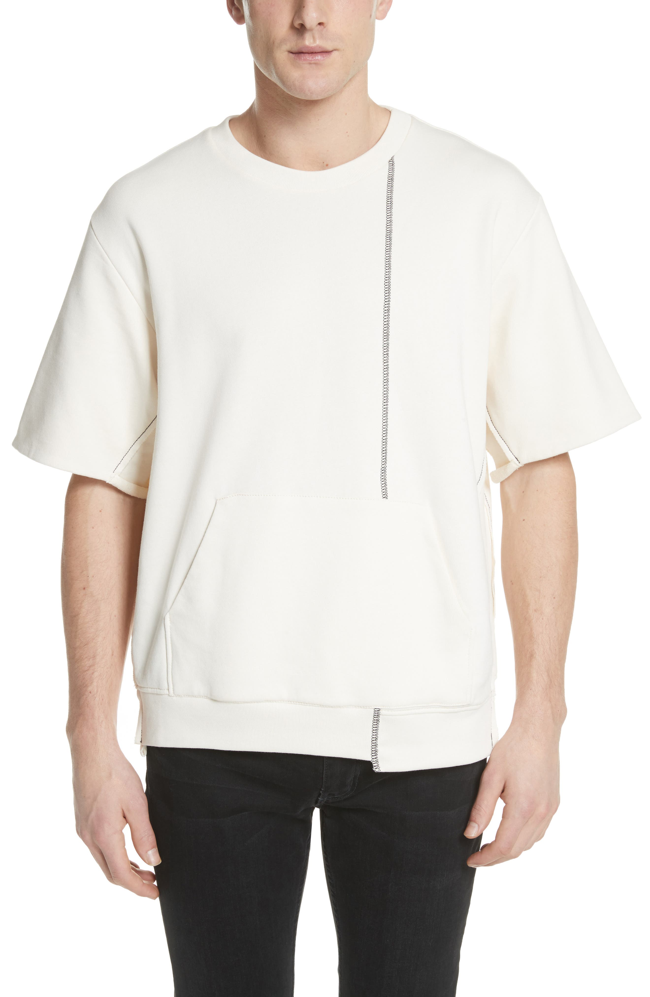 Reconstructed Short Sleeve Sweatshirt,                         Main,                         color, Ecru