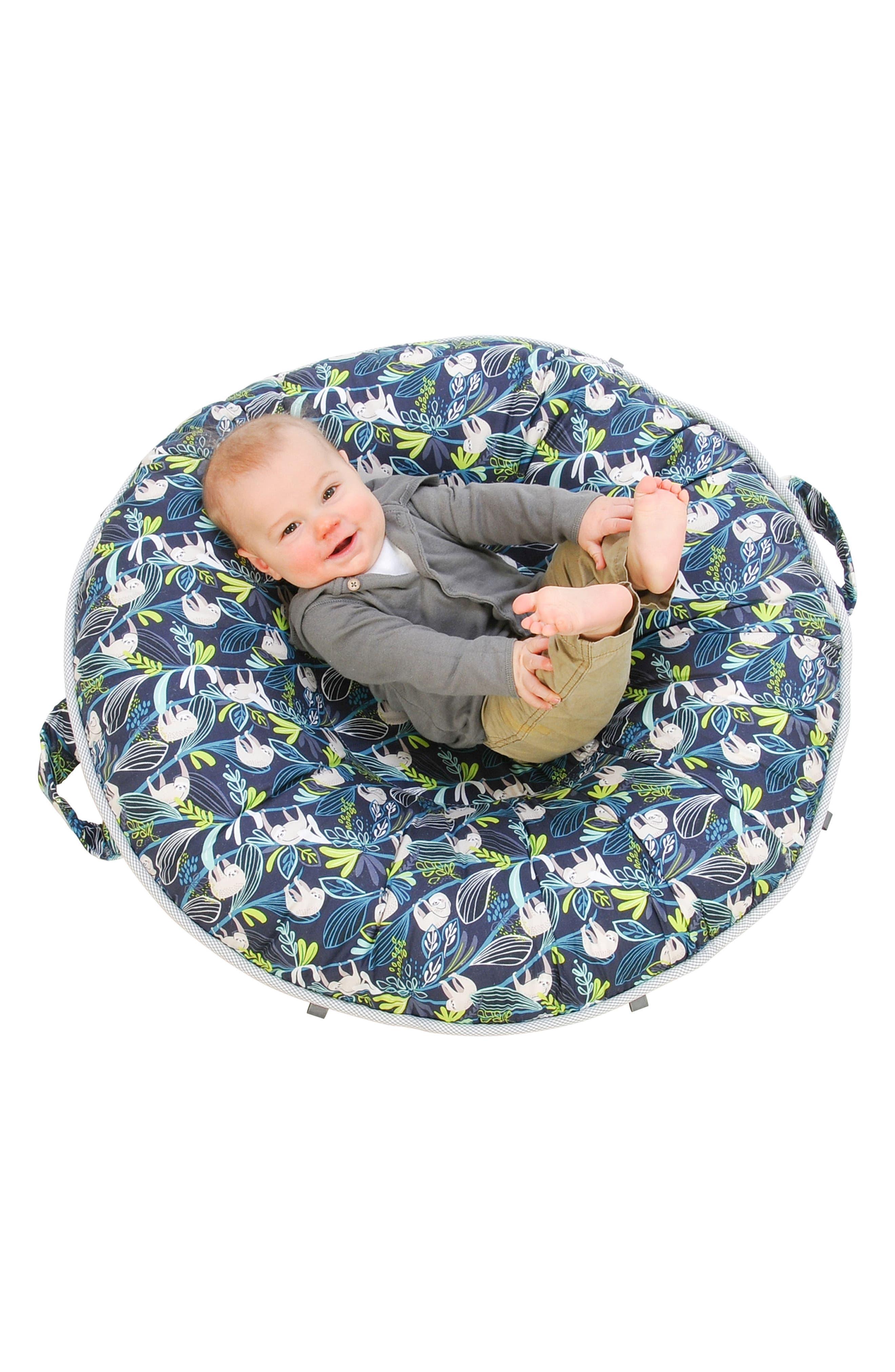 Sammy Luxe Portable Floor Pillow,                             Alternate thumbnail 2, color,                             Blue/ Gray