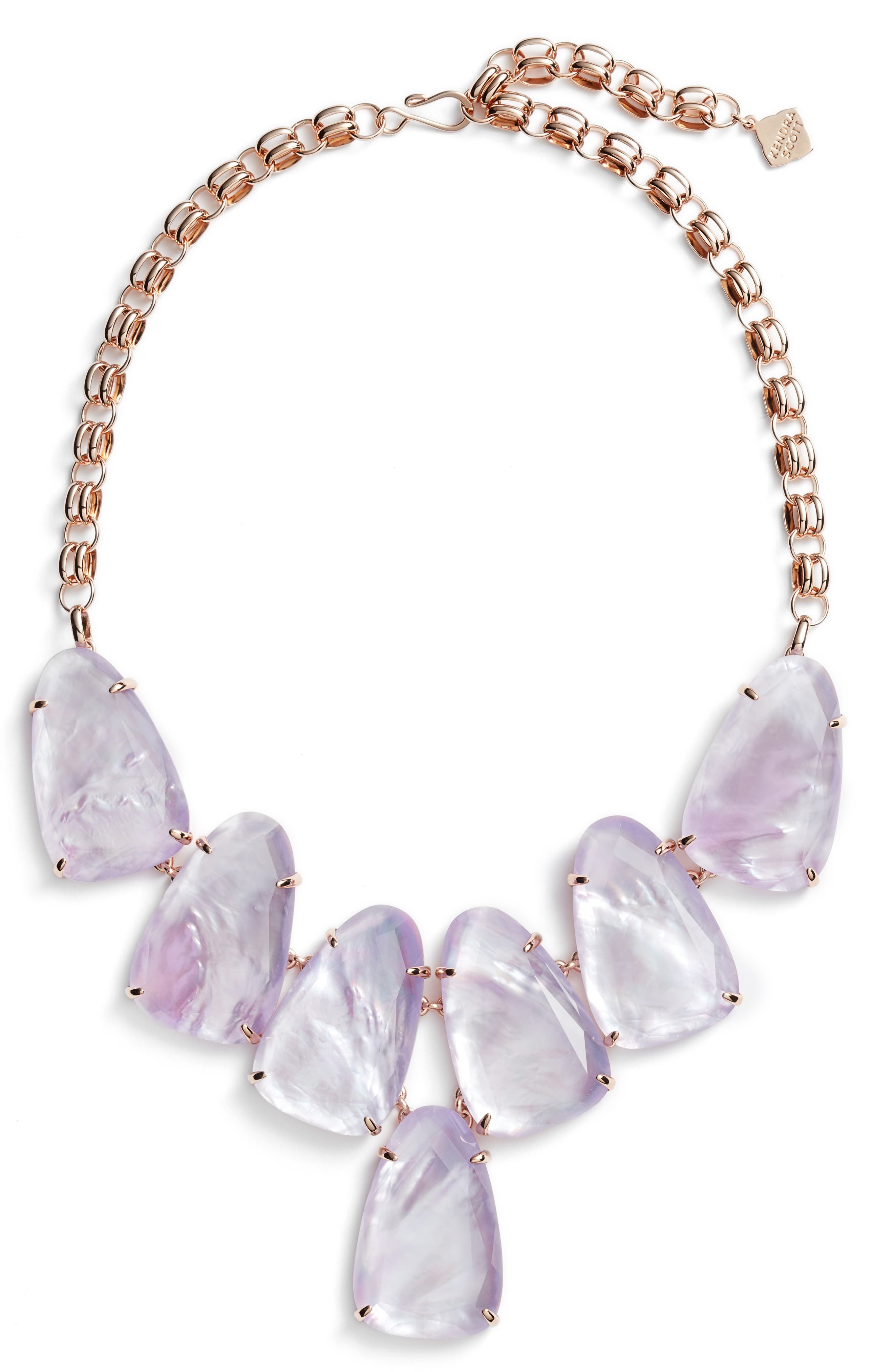 Harlow Necklace,                             Main thumbnail 1, color,                             Lilac Mop/ Rose Gold