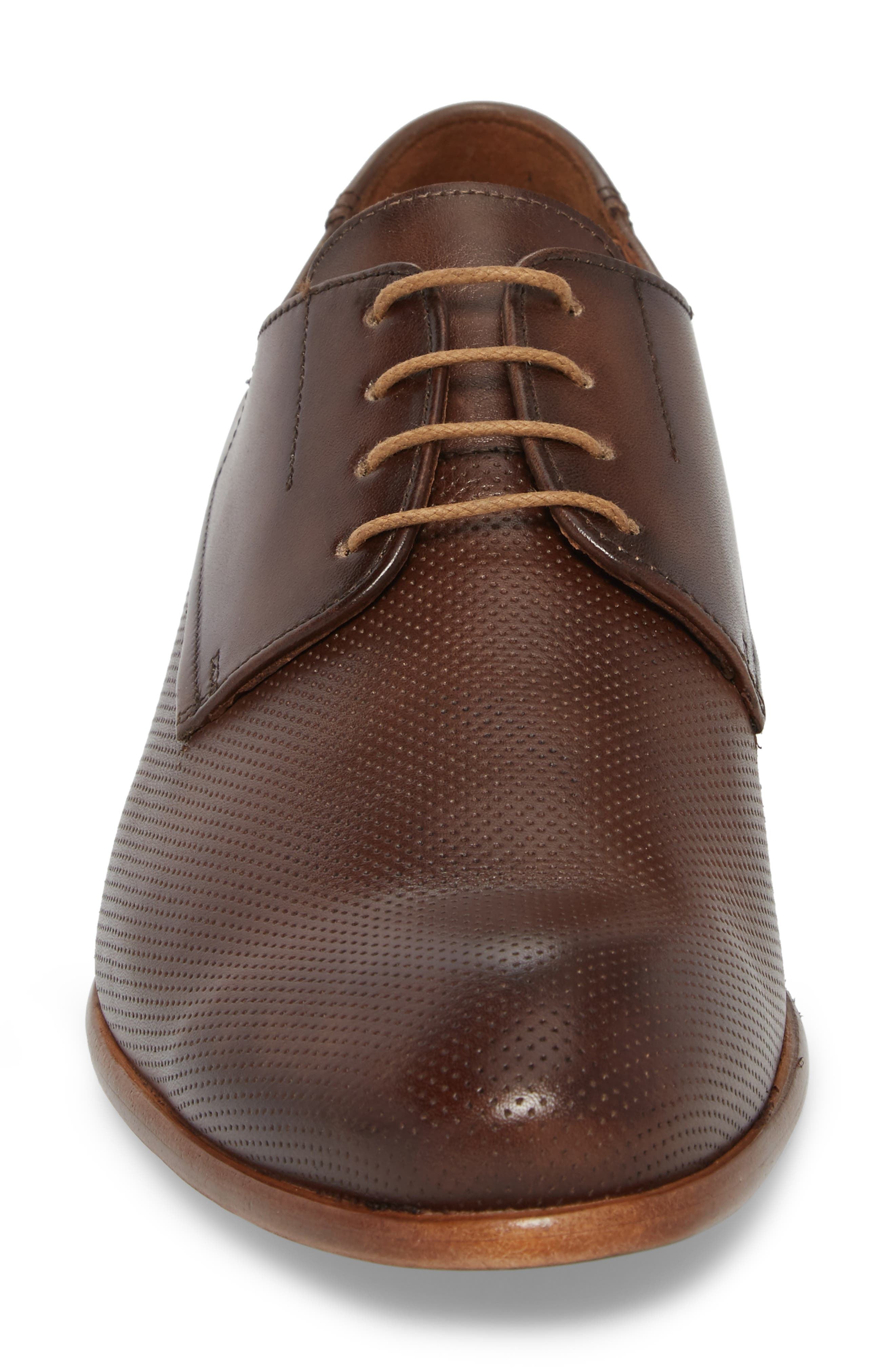 Napir Embossed Plain Toe Derby,                             Alternate thumbnail 4, color,                             Cigar Leather