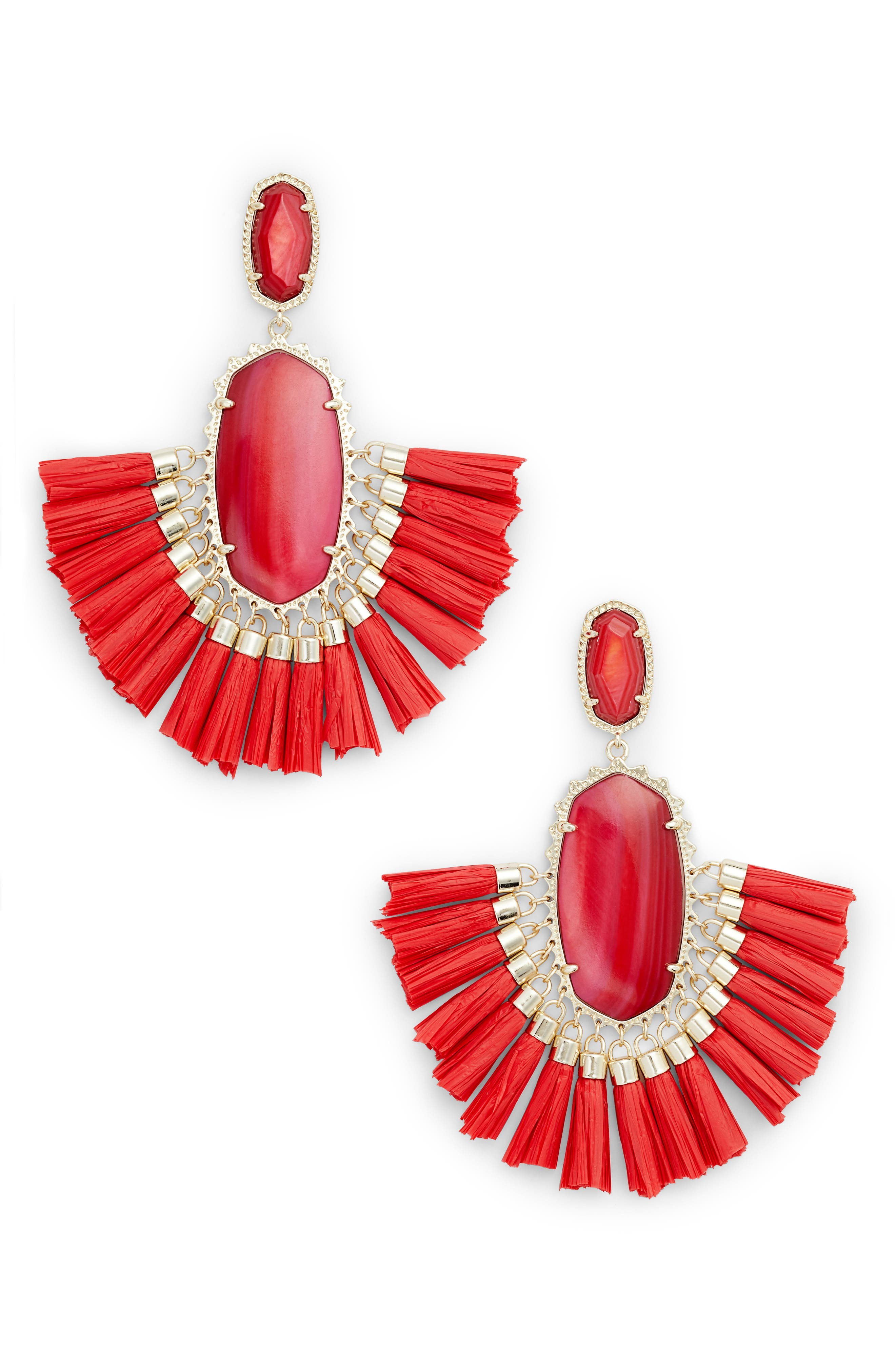Cristina Stone Tassel Earrings,                             Main thumbnail 1, color,                             Red Mop/ Gold