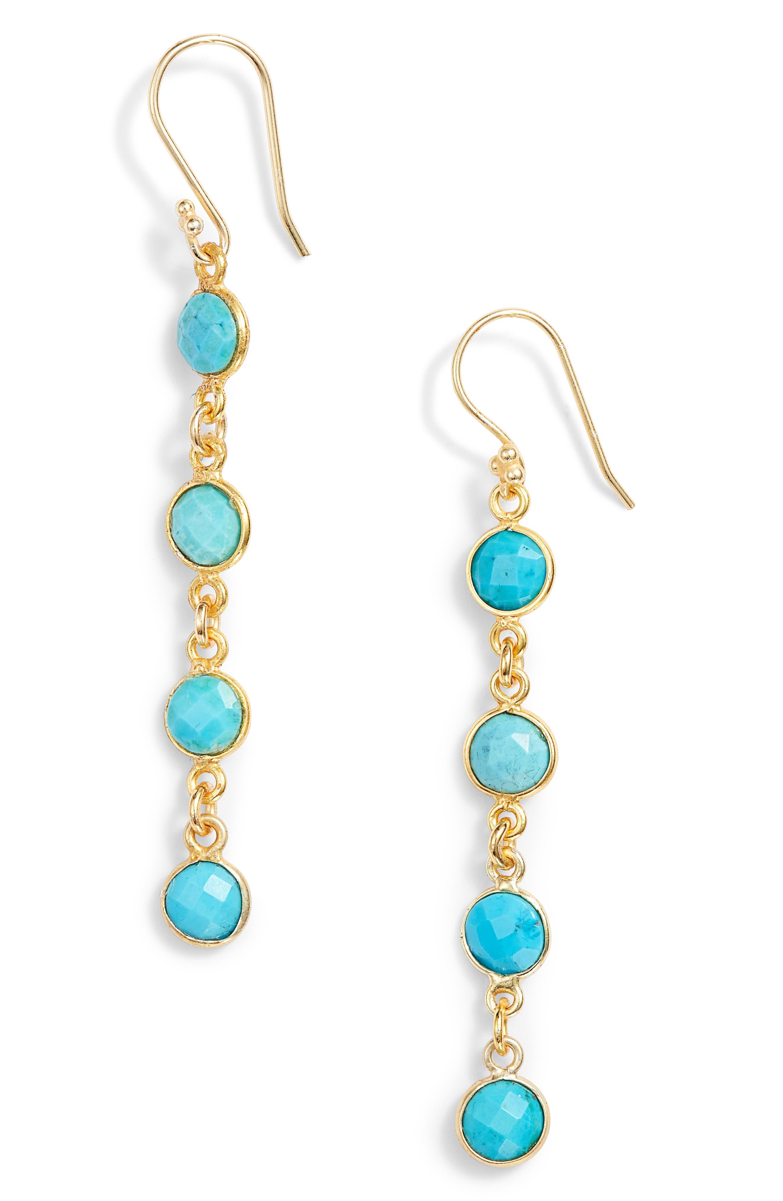 Stone Drop Earrings,                             Main thumbnail 1, color,                             Turquoise