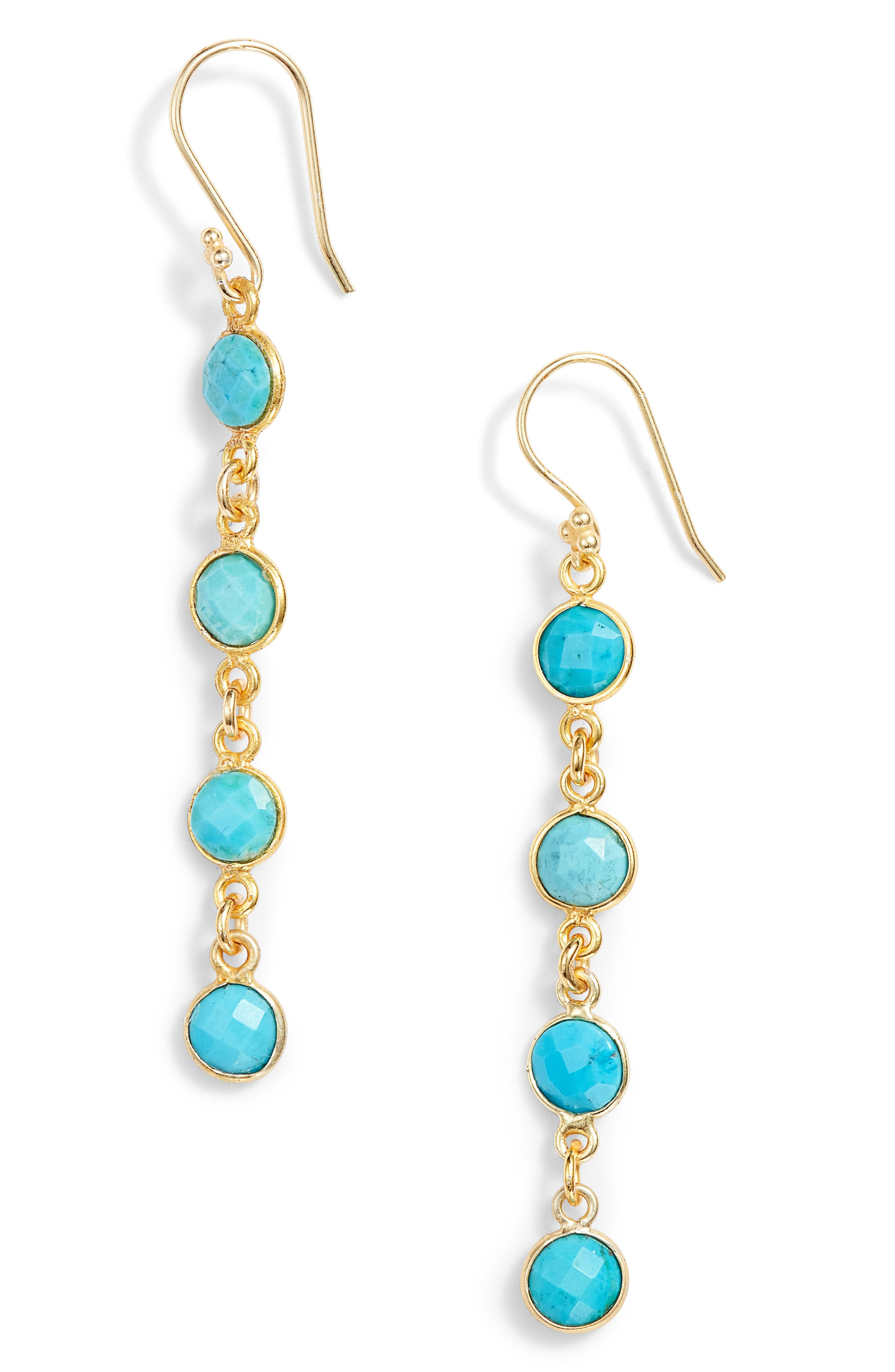 Stone Drop Earrings,                         Main,                         color, Turquoise