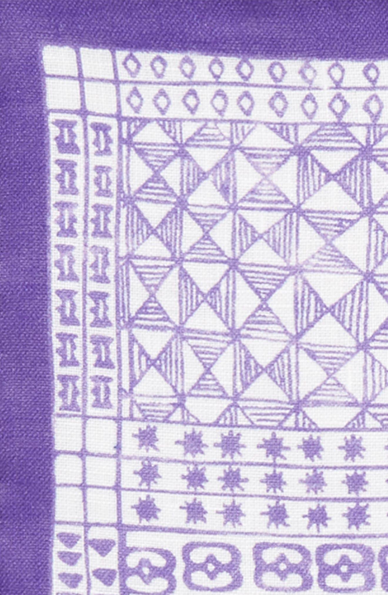 Neat Linen Pocket Square,                             Alternate thumbnail 3, color,                             Purple