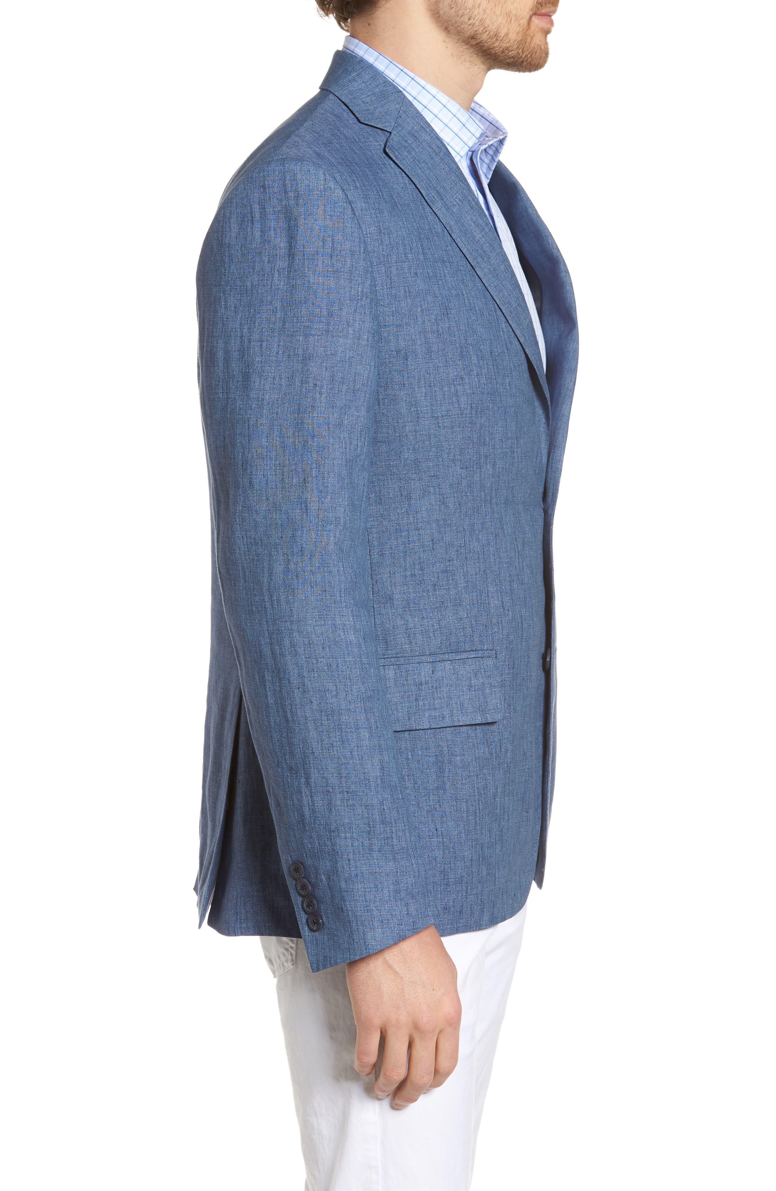 Trim Fit Linen Blazer,                             Alternate thumbnail 3, color,                             Blue Denim