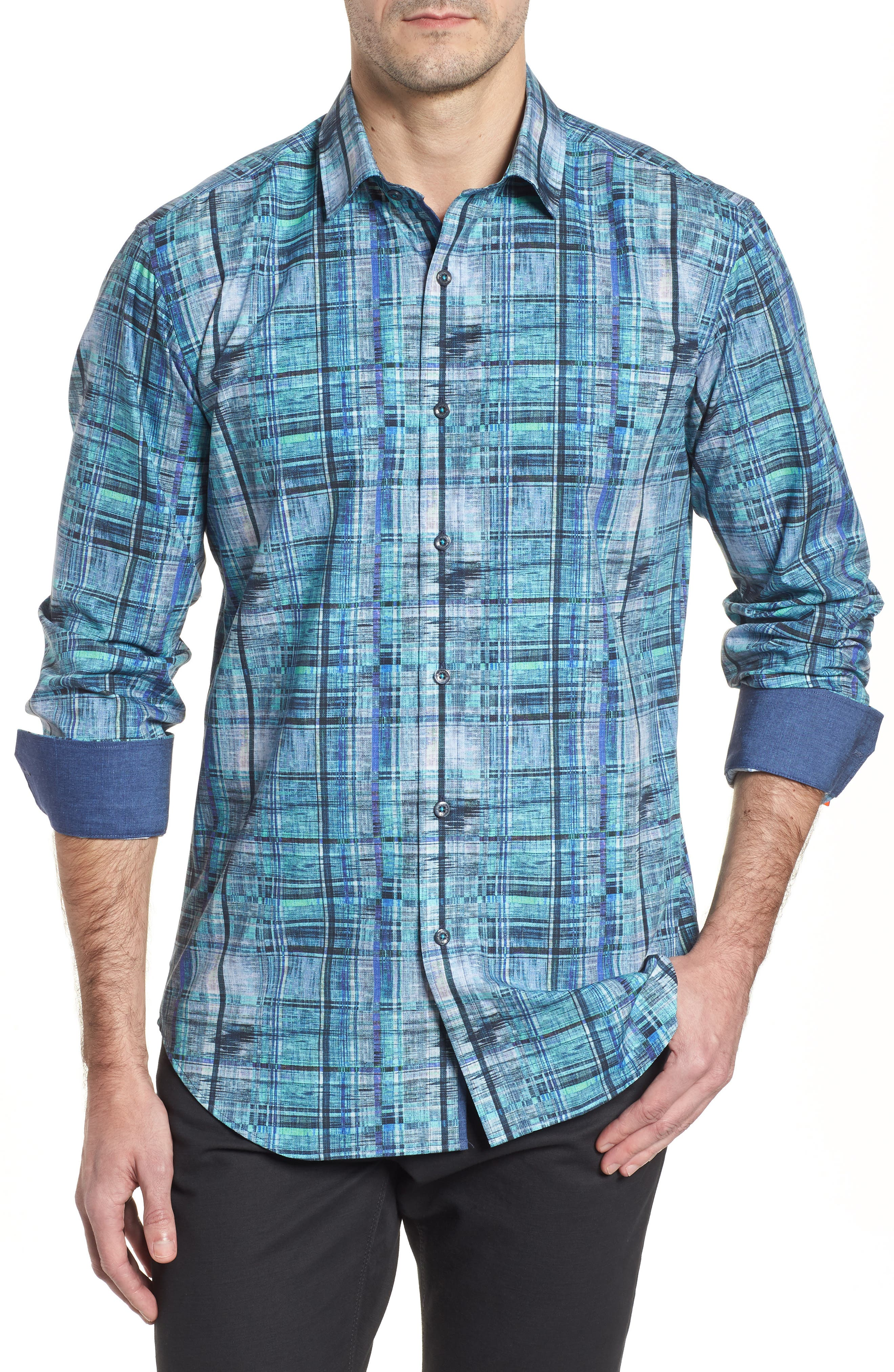 Shaped Fit Distressed Check Sport Shirt,                             Main thumbnail 1, color,                             Turquoise