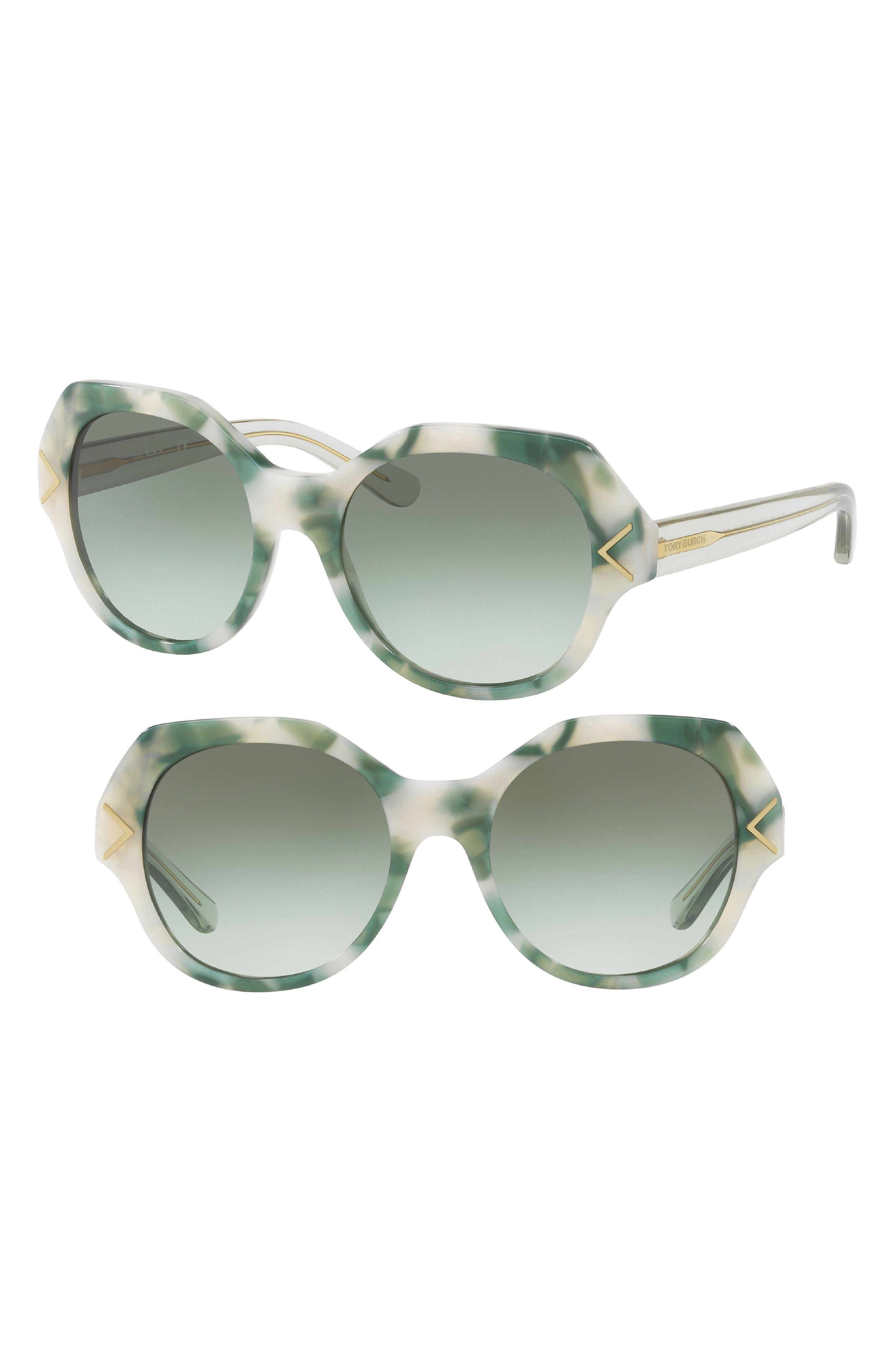 53mm Gradient Geometric Sunglasses,                             Main thumbnail 1, color,                             Dark Green Marble