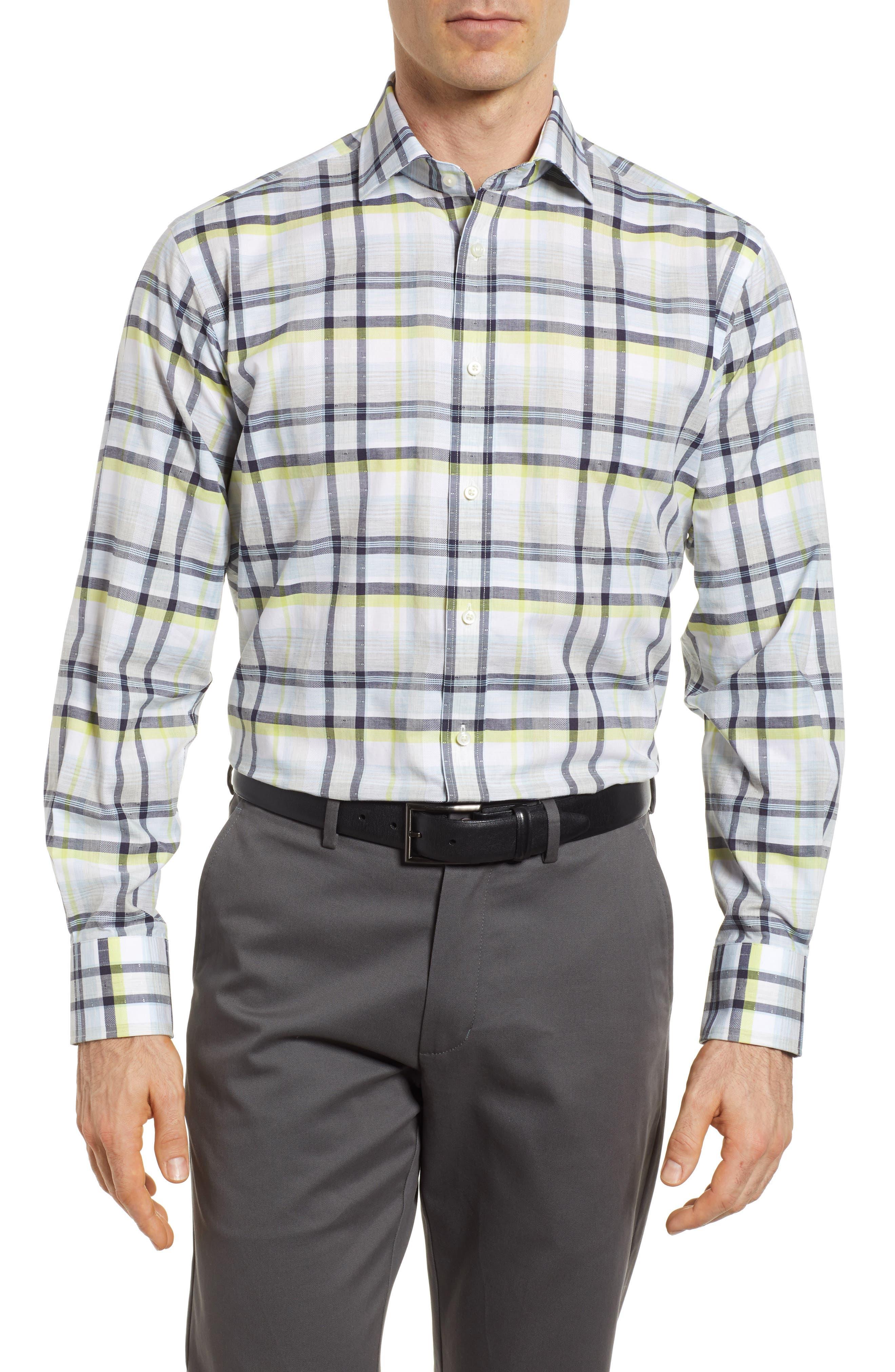 Thomas Dean Large Check Sport Shirt