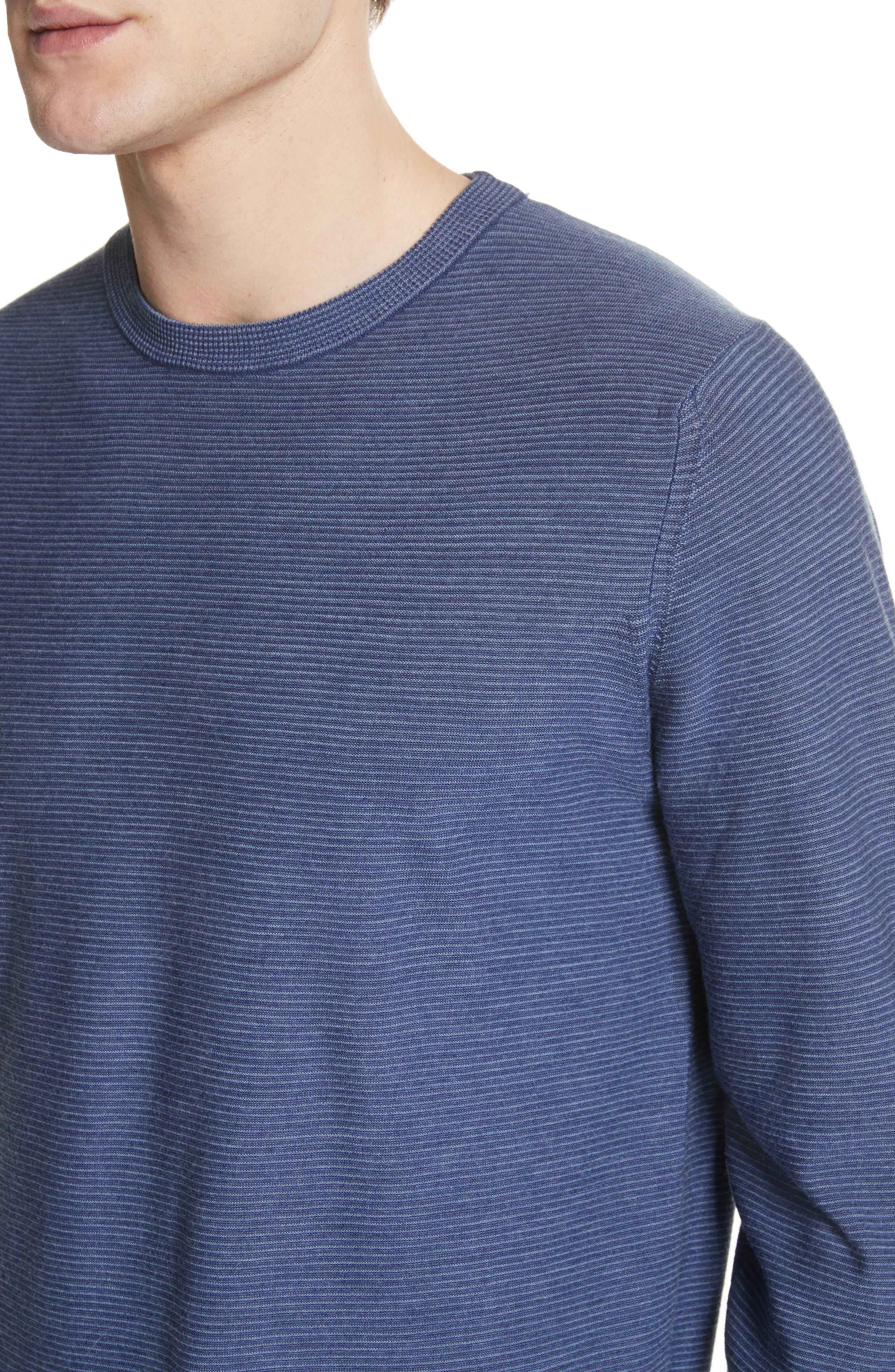 Alternate Image 4  - Canali Stripe Crewneck Wool Sweater
