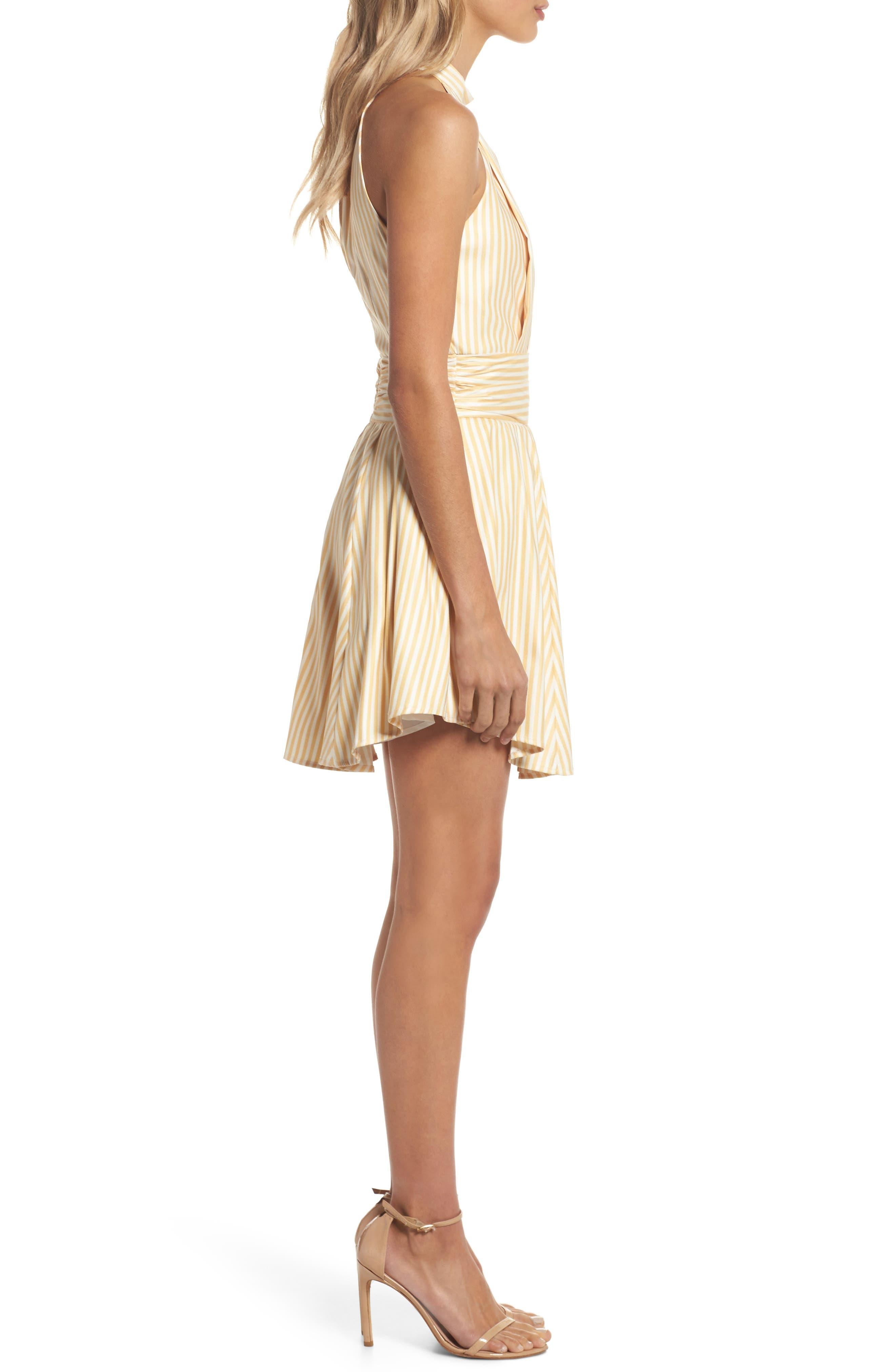 Believe in Me Halter Neck Party Dress,                             Alternate thumbnail 4, color,                             Honey Stripe