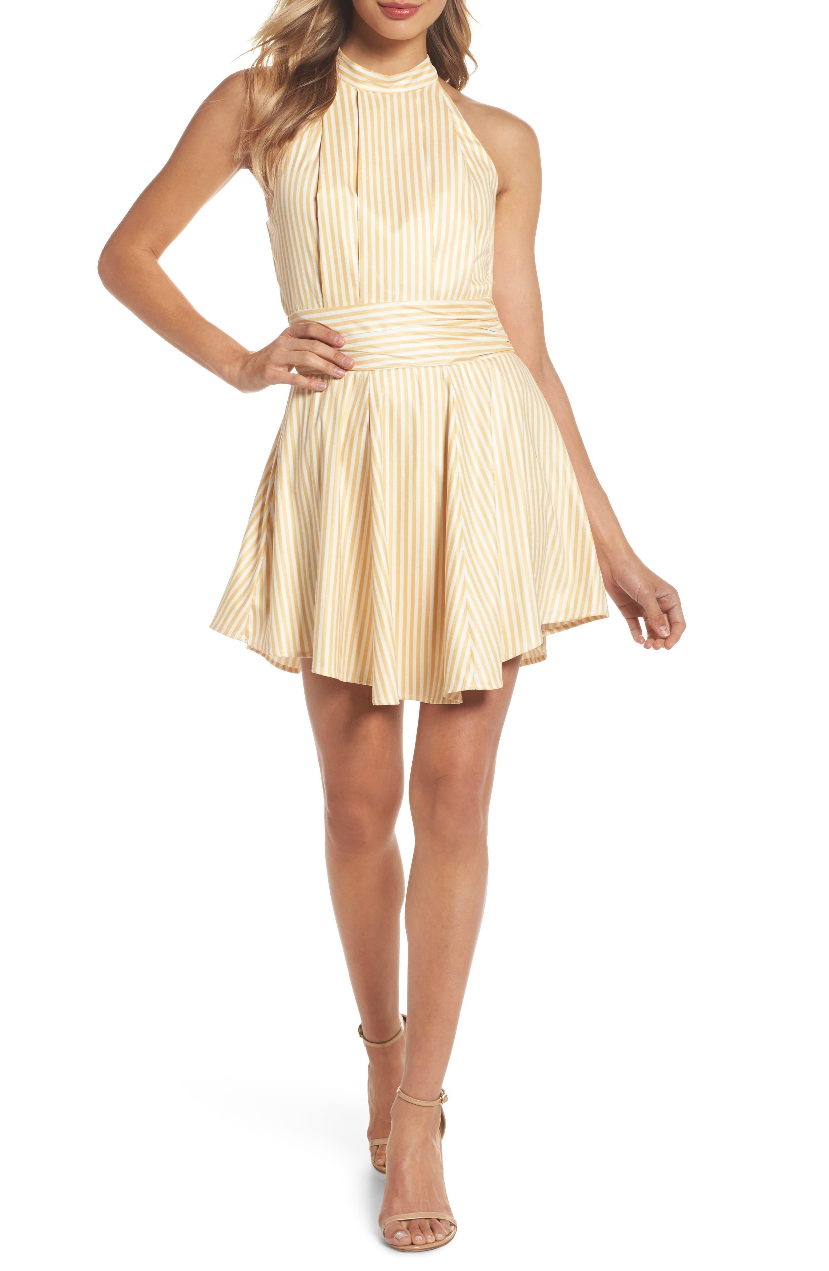 Believe in Me Halter Neck Party Dress,                             Main thumbnail 1, color,                             Honey Stripe