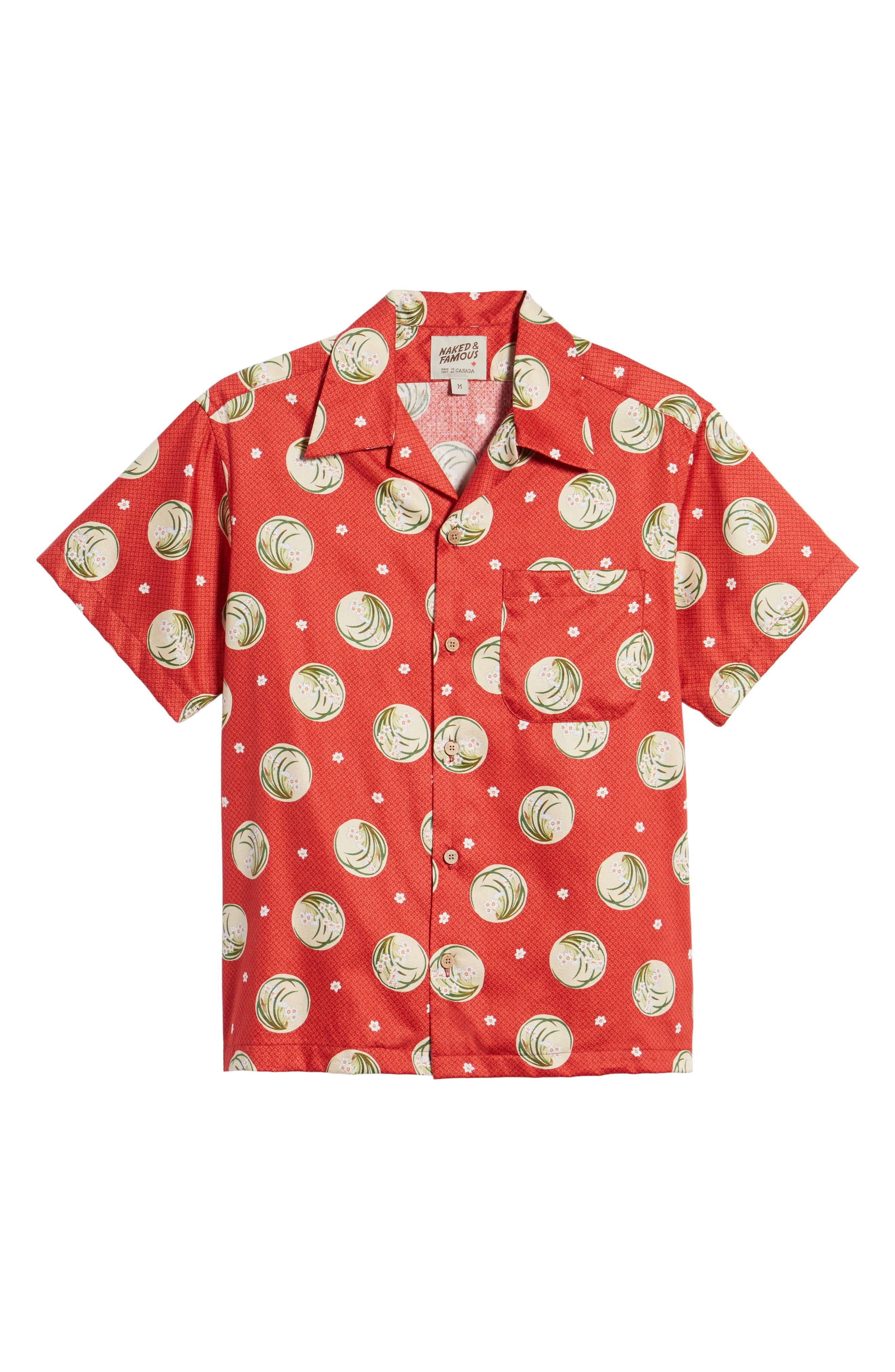 Japanese Springtime Woven Shirt,                             Alternate thumbnail 6, color,                             Red