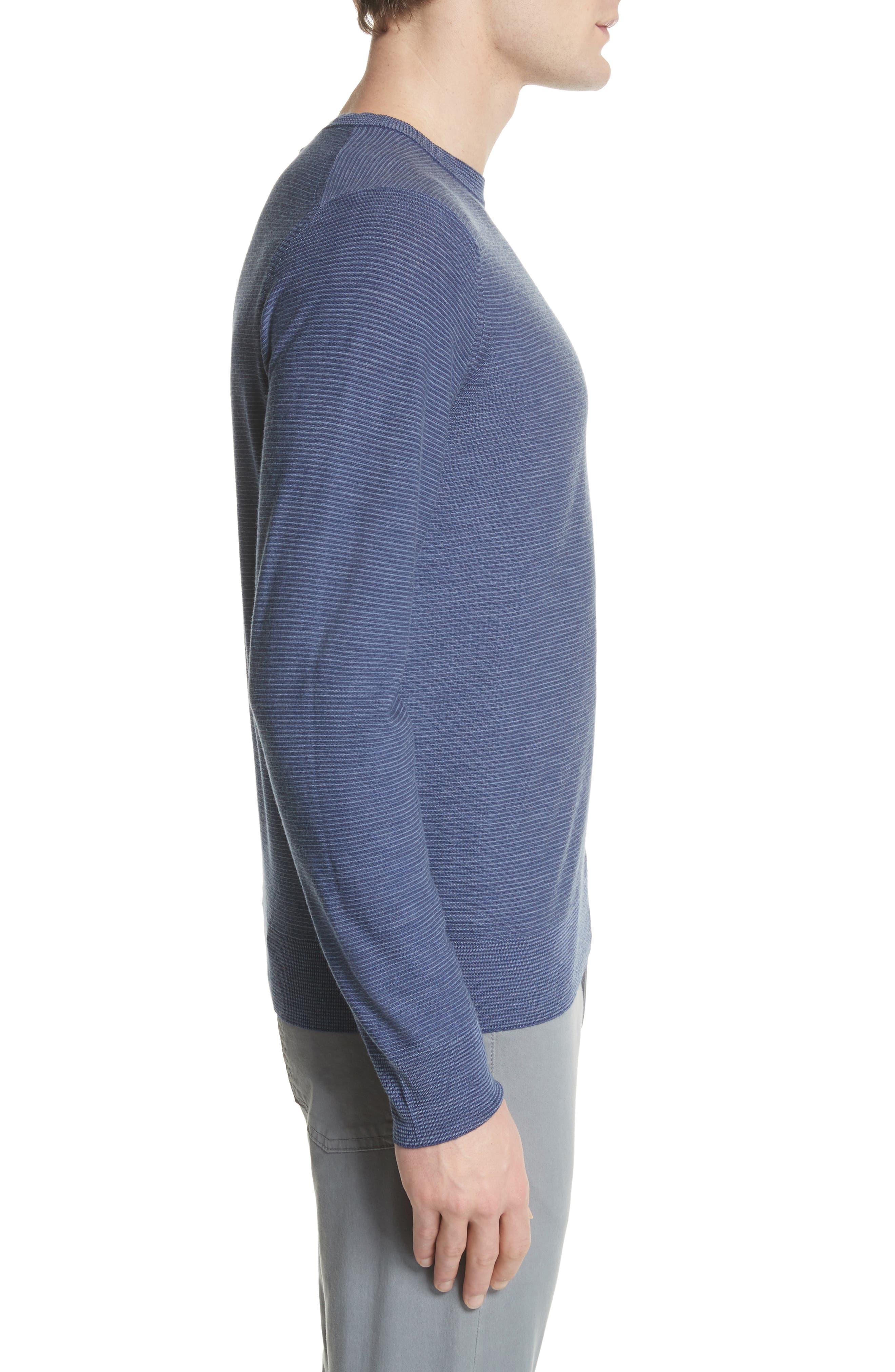 Alternate Image 3  - Canali Stripe Crewneck Wool Sweater