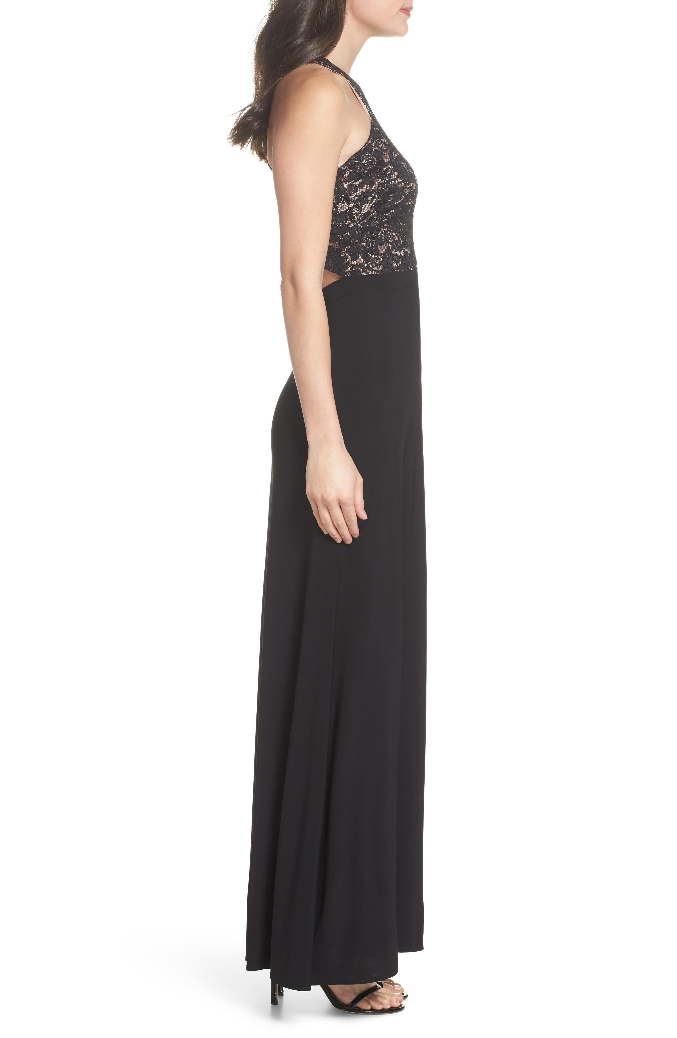 Lace Bodice Strappy Gown,                             Alternate thumbnail 3, color,                             Black/ Nude