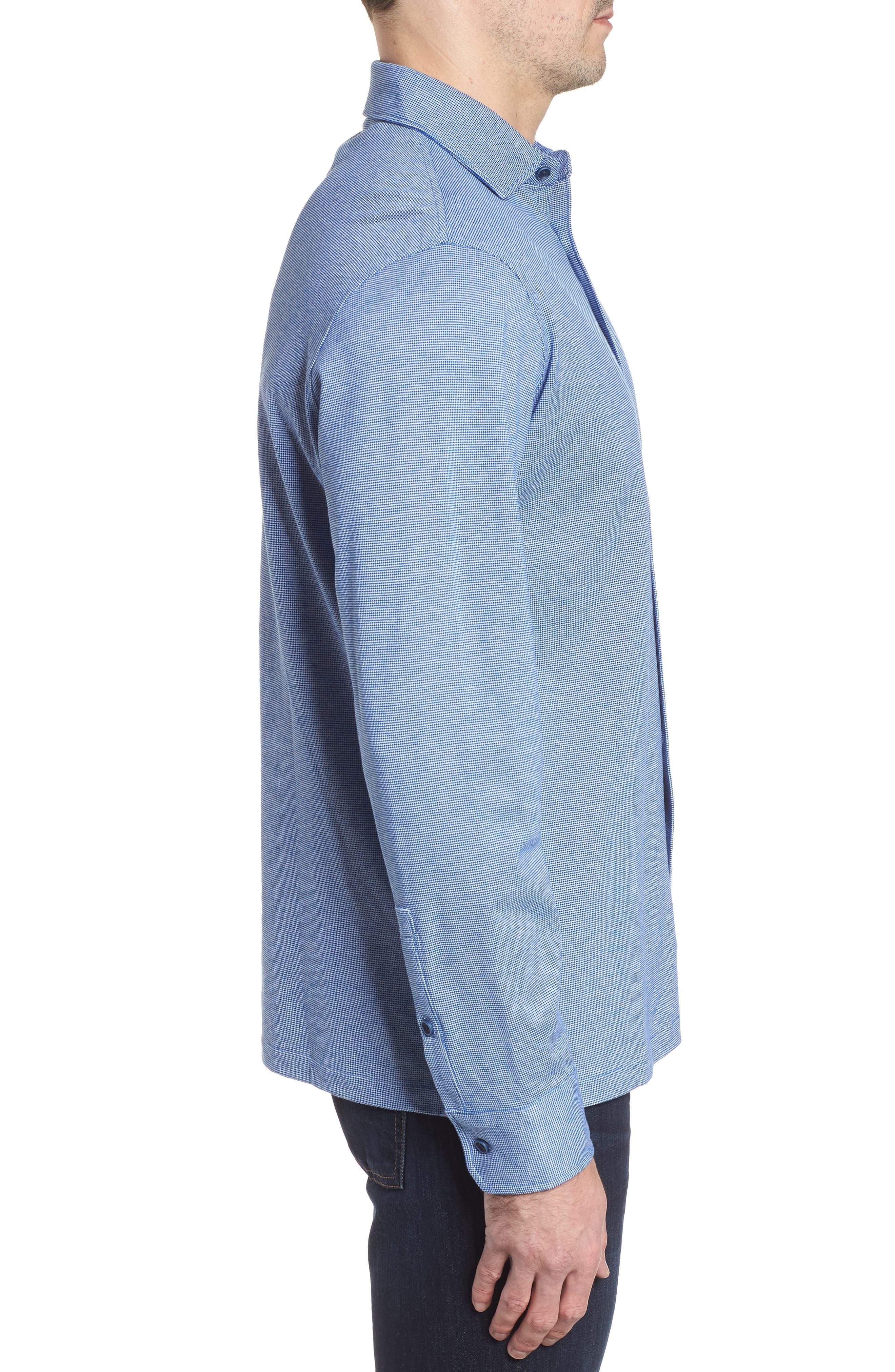 Regular Fit Piqué Cotton Sport Shirt,                             Alternate thumbnail 3, color,                             Navy