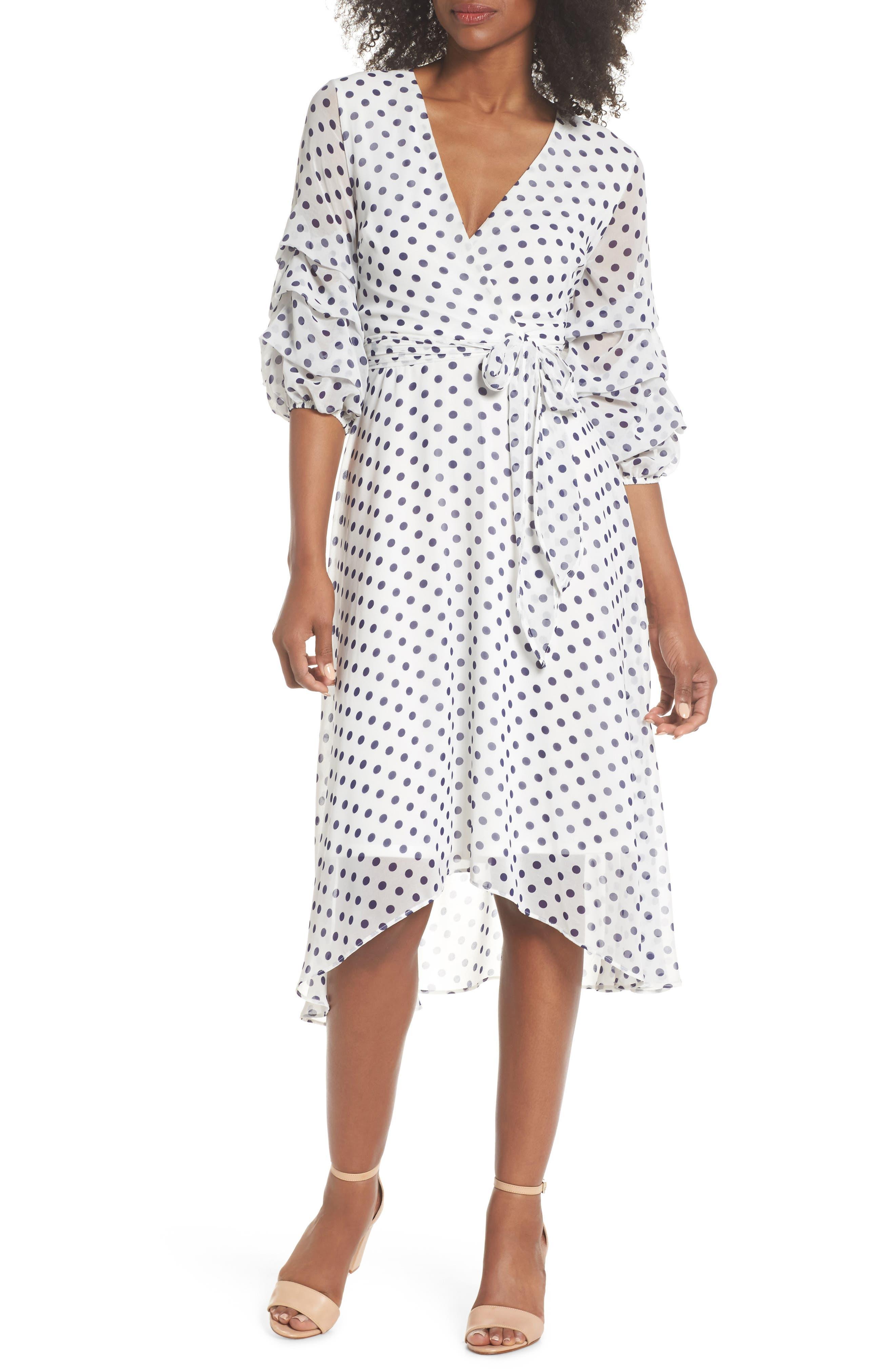 Gabby Skye Polka Dot Faux Wrap Midi Dress