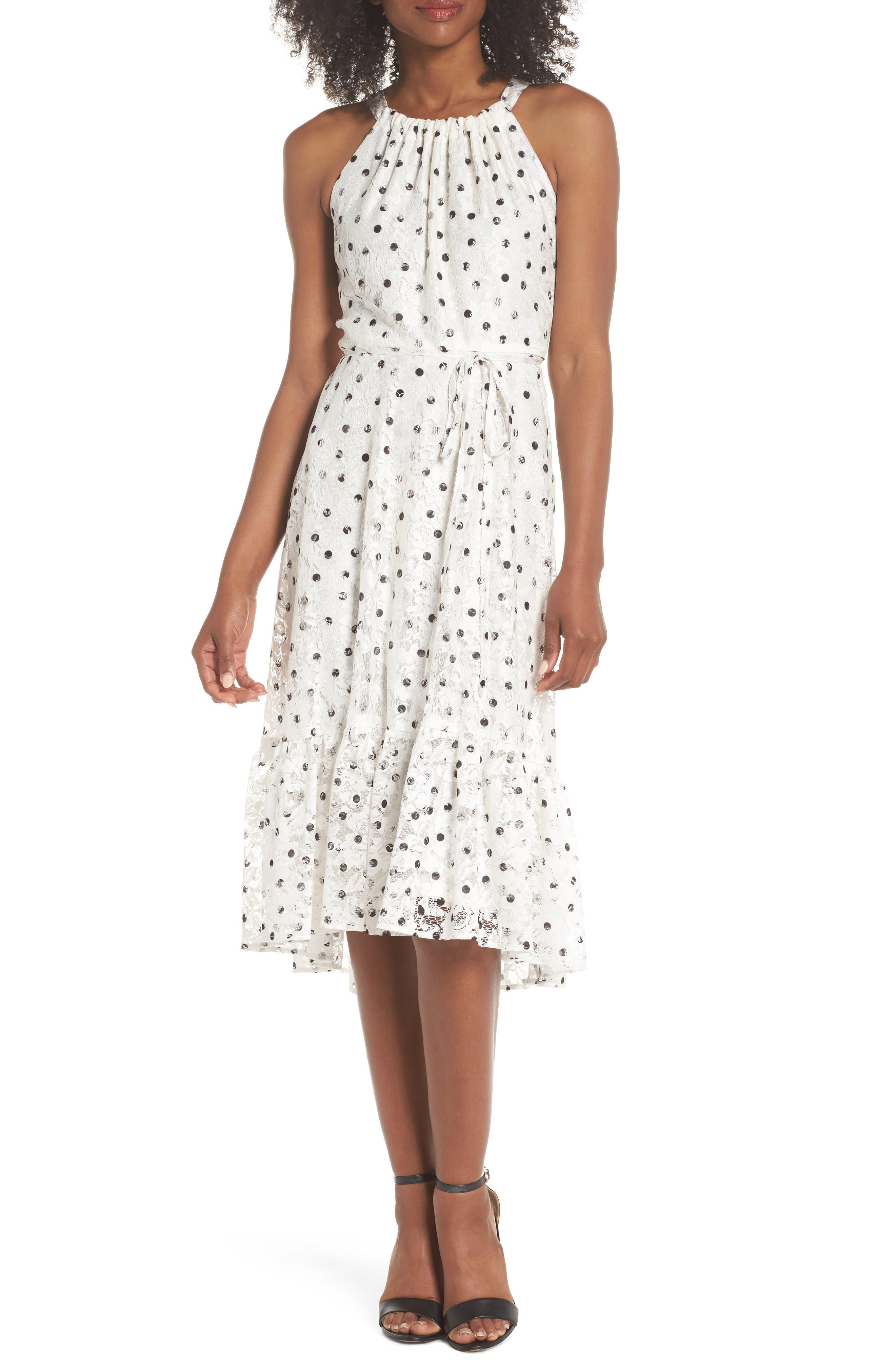 Polka Dot Lace Midi Dress,                             Main thumbnail 1, color,                             Ivory/ Black