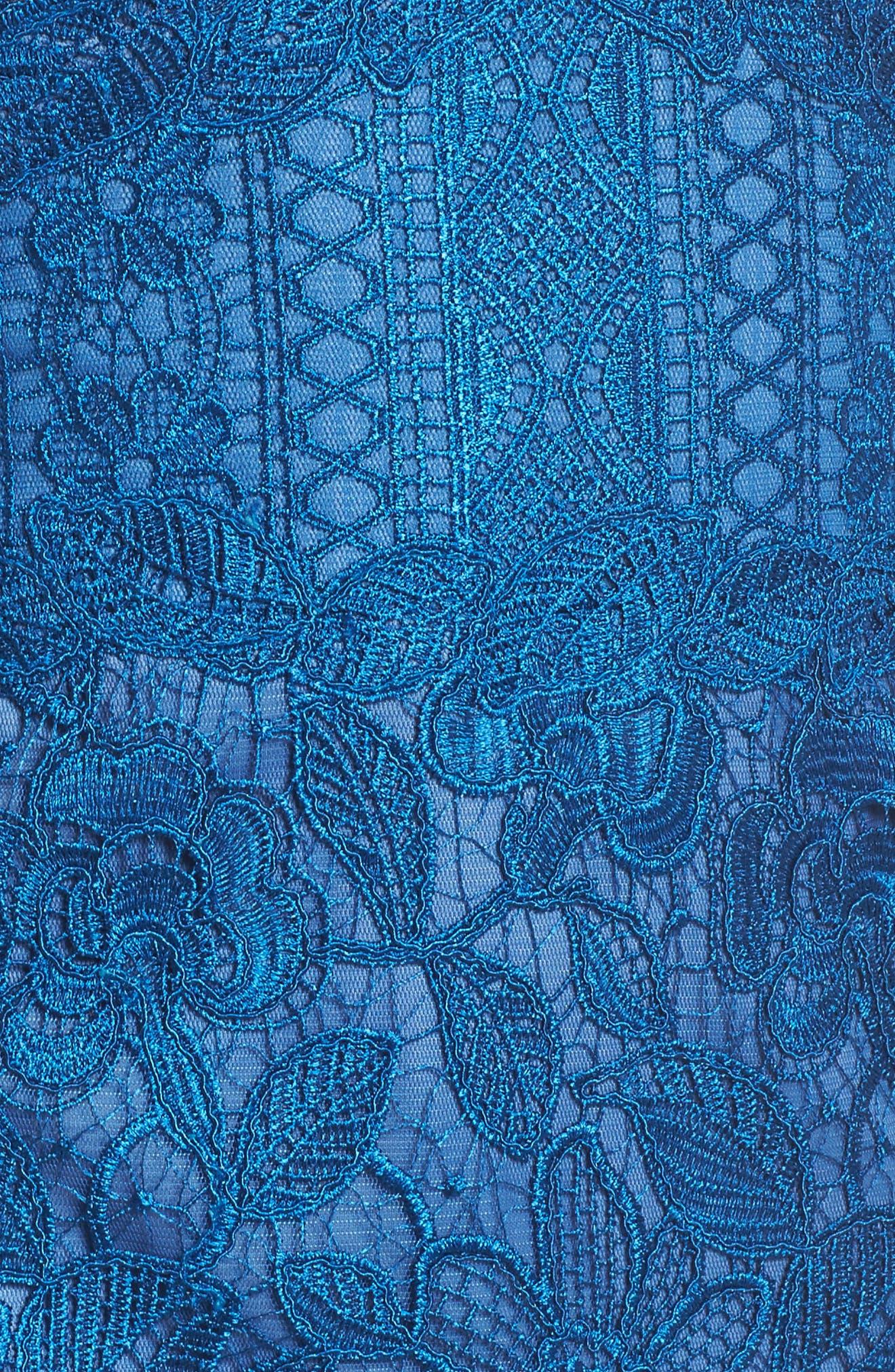 Carter Lace Sheath Dress,                             Alternate thumbnail 5, color,                             Azure
