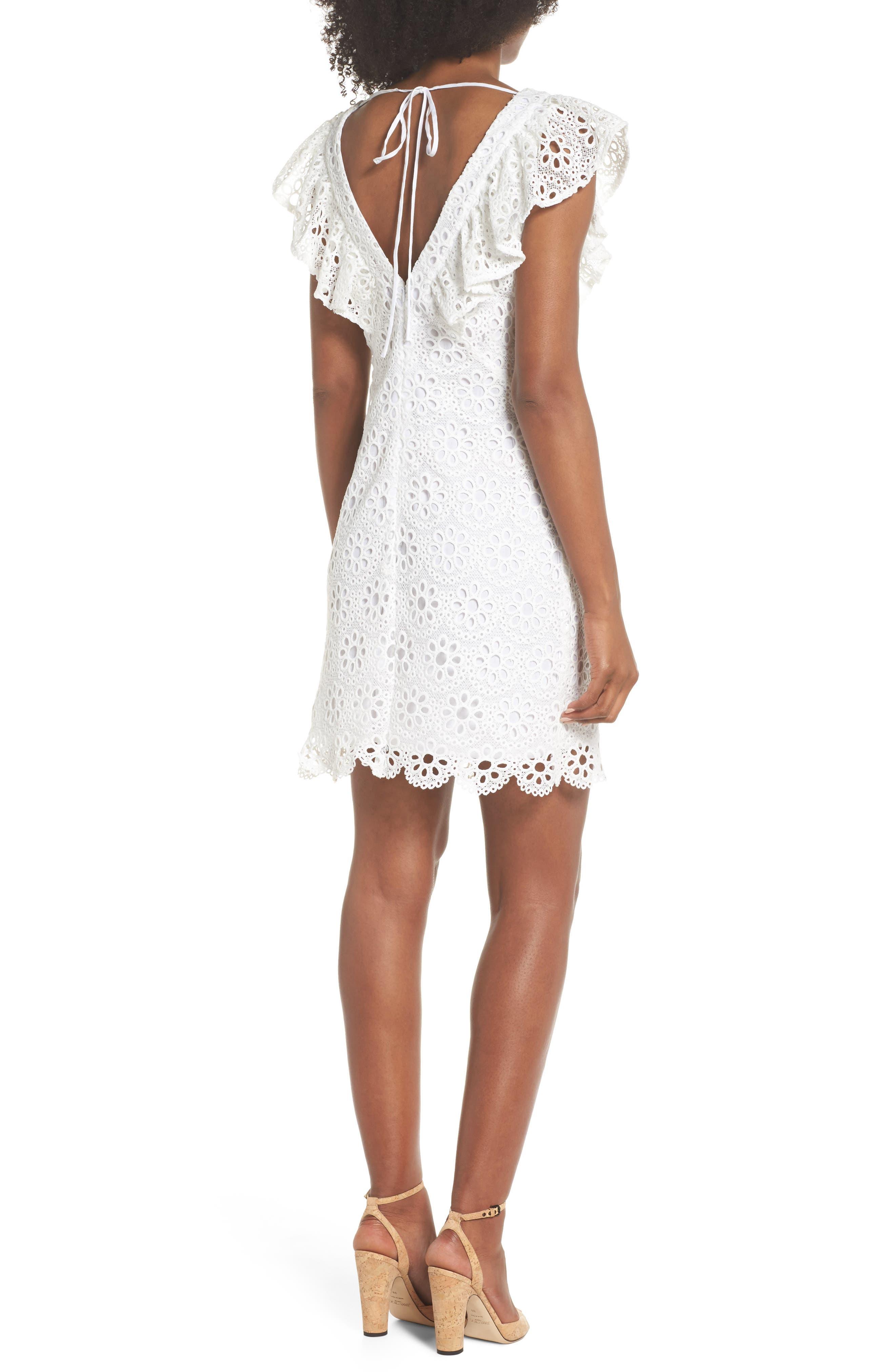 Neriah Eyelet Embroidered Dress,                             Alternate thumbnail 2, color,                             Whitewash