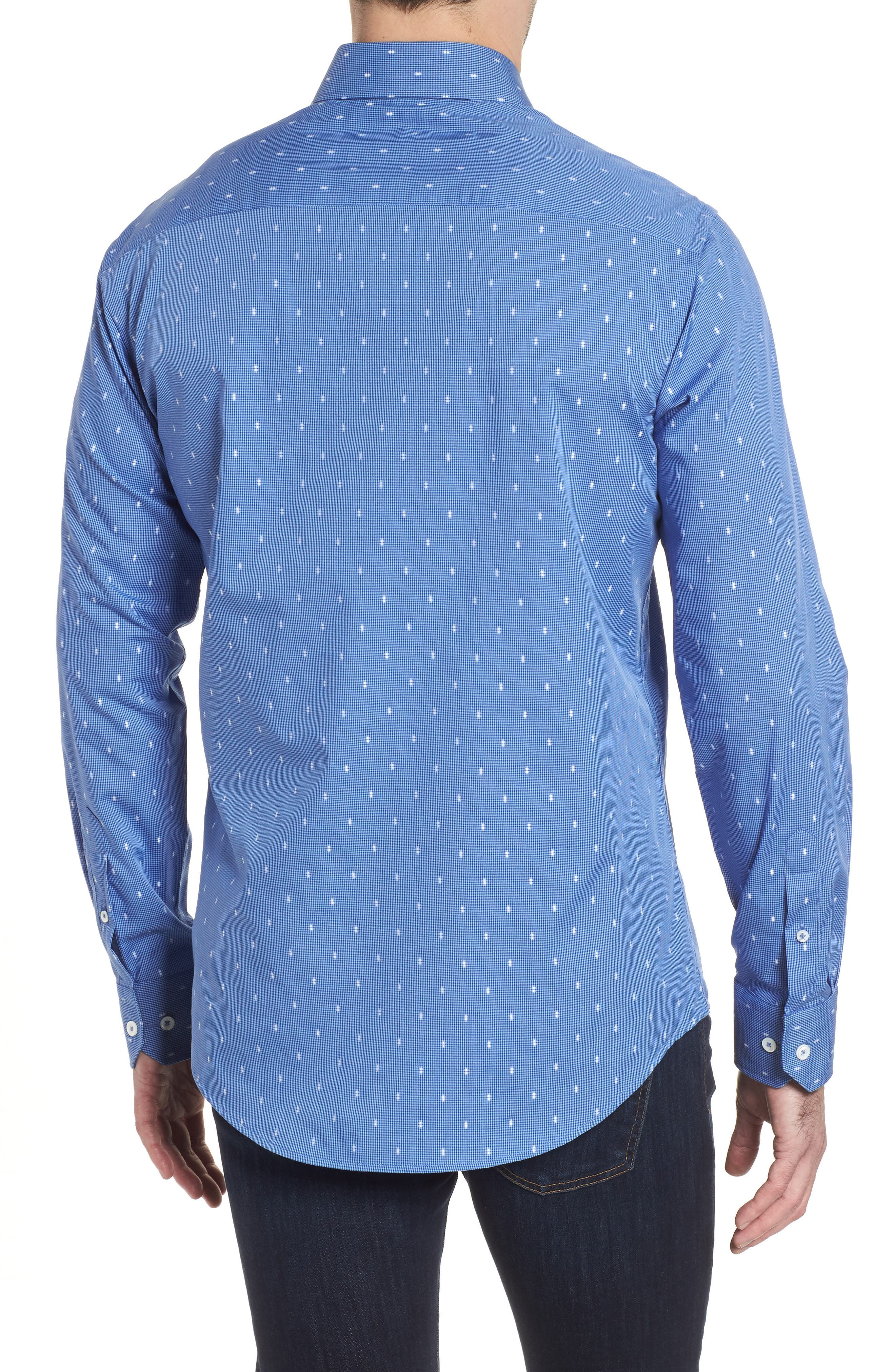 Shaped Fit Pin Check Sport Shirt,                             Alternate thumbnail 2, color,                             Classic Blue